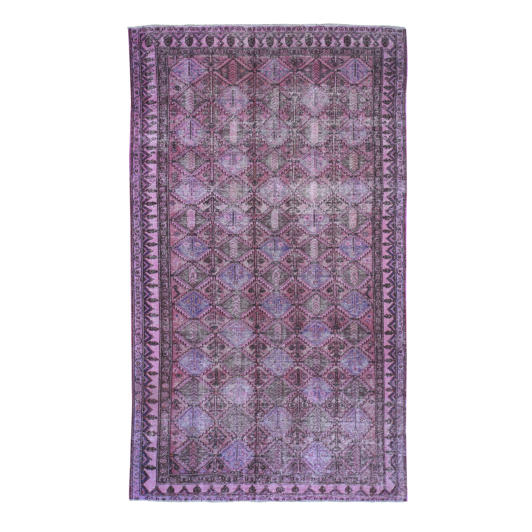 Fetneh Collection And Vintage Overdyed Collection Hand Knotted Pink Rug No: 0194758