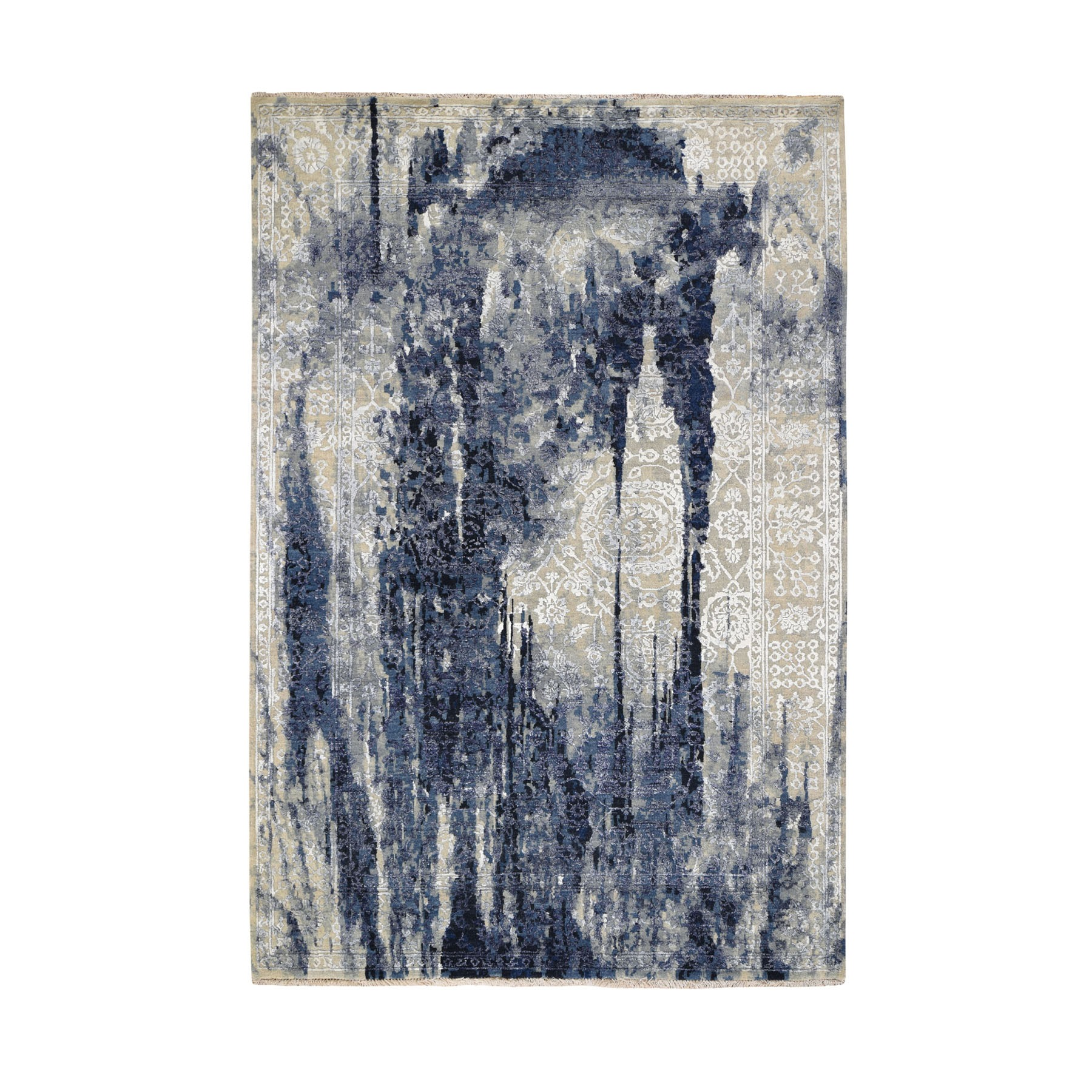 Transitional Hand Knotted Blue Rug No: 0195038