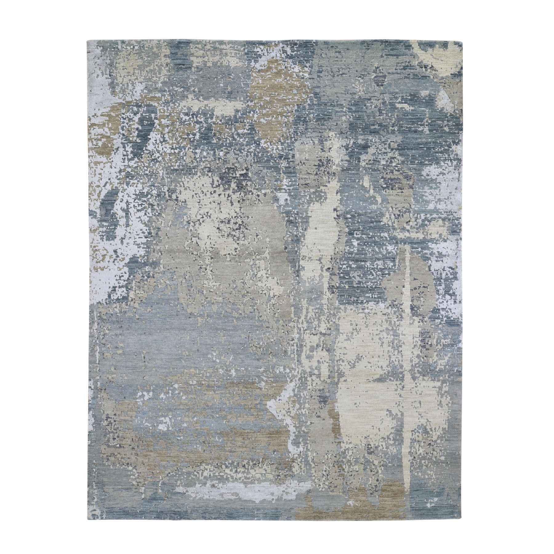 Mid Century Modern Collection Hand Knotted Grey Rug No: 0195486