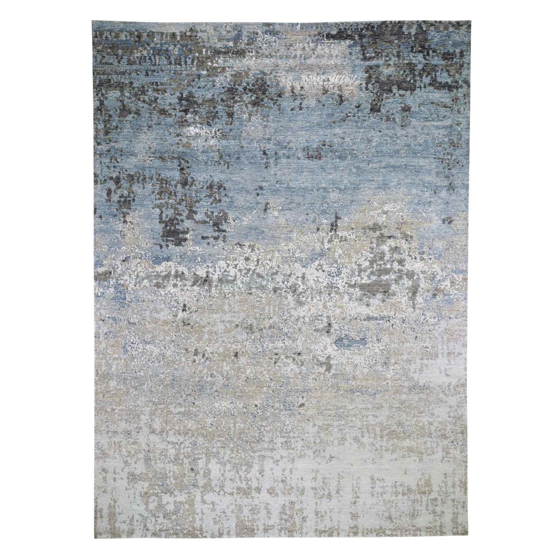 Mid Century Modern Collection Hand Knotted Grey Rug No: 0195500
