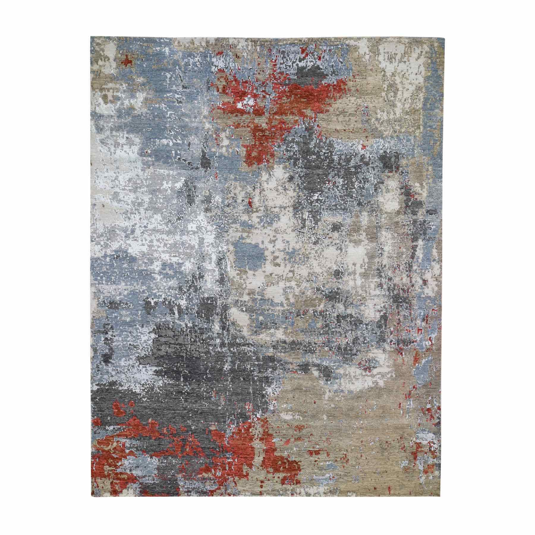 Mid Century Modern Collection Hand Knotted Blue Rug No: 0195506