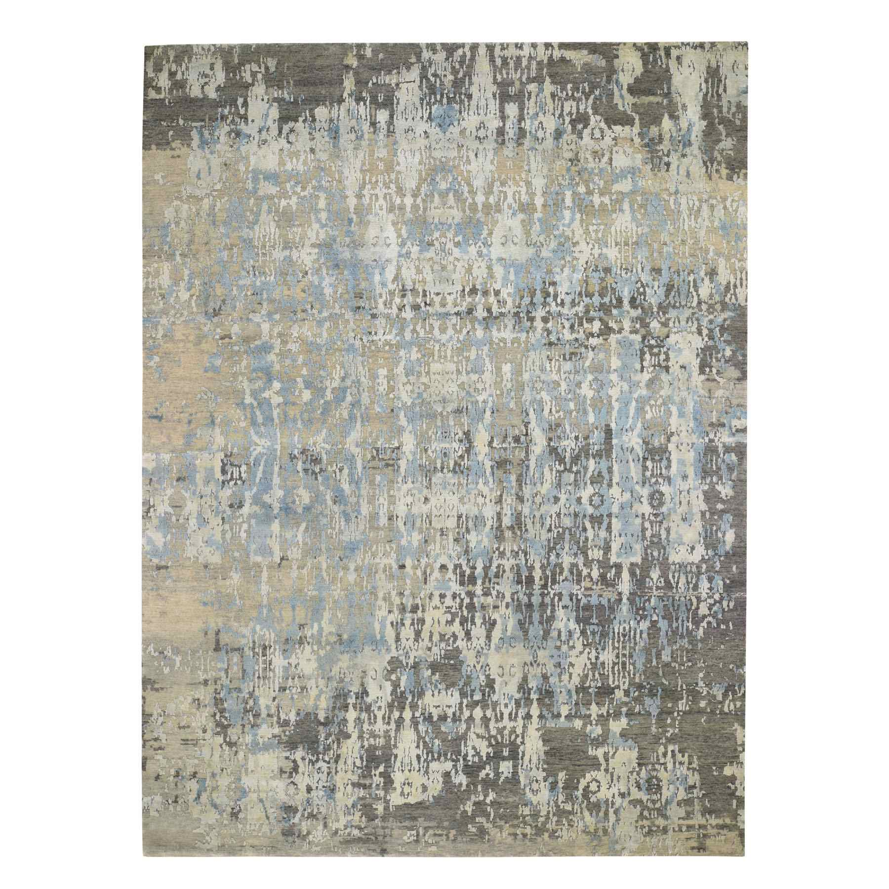 Mid Century Modern Collection Hand Knotted Grey Rug No: 0195478