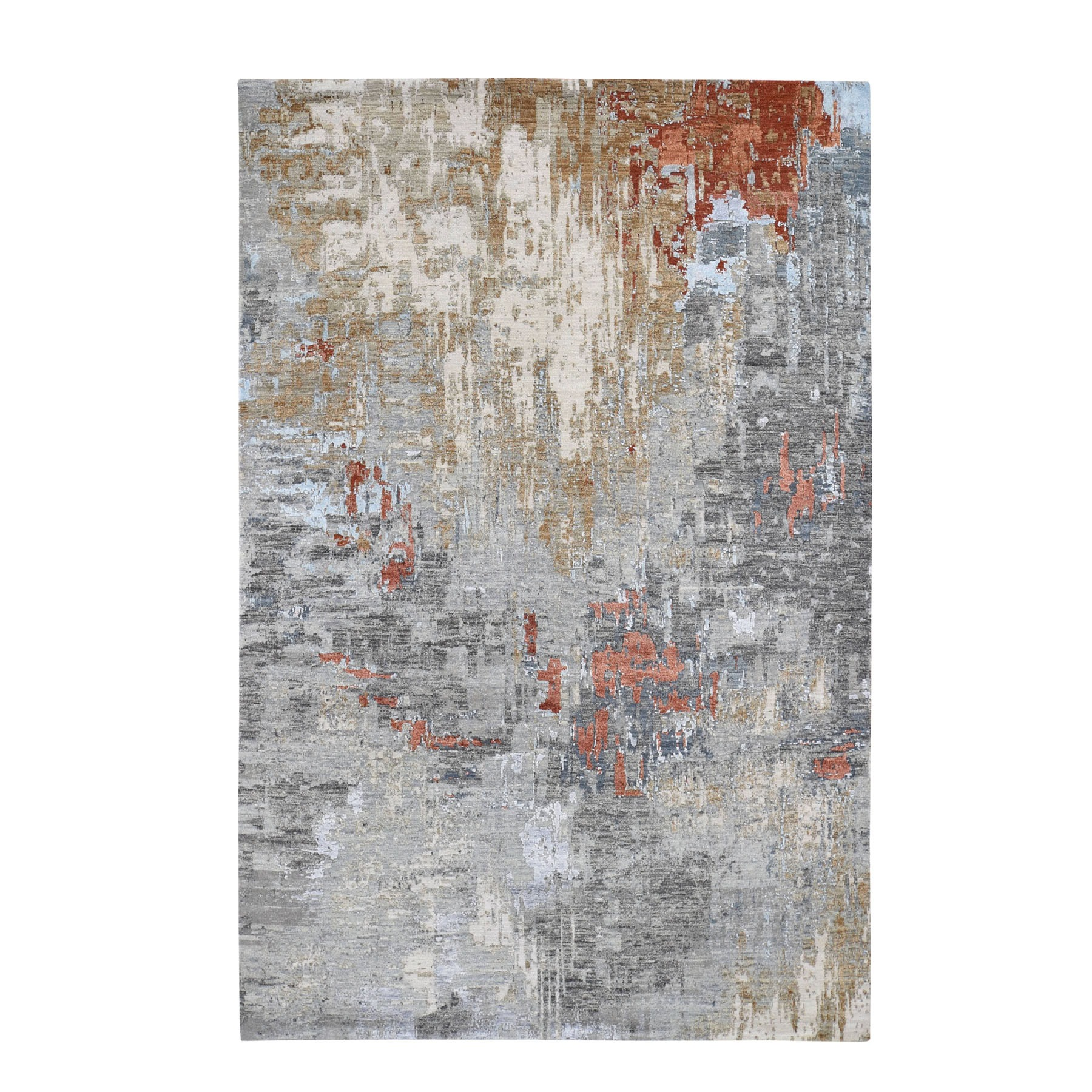 Mid Century Modern Collection Hand Knotted Grey Rug No: 0195530