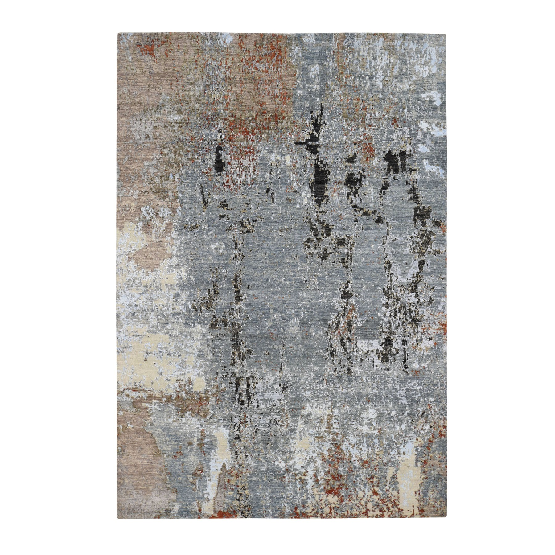 Mid Century Modern Collection Hand Knotted Grey Rug No: 0195532