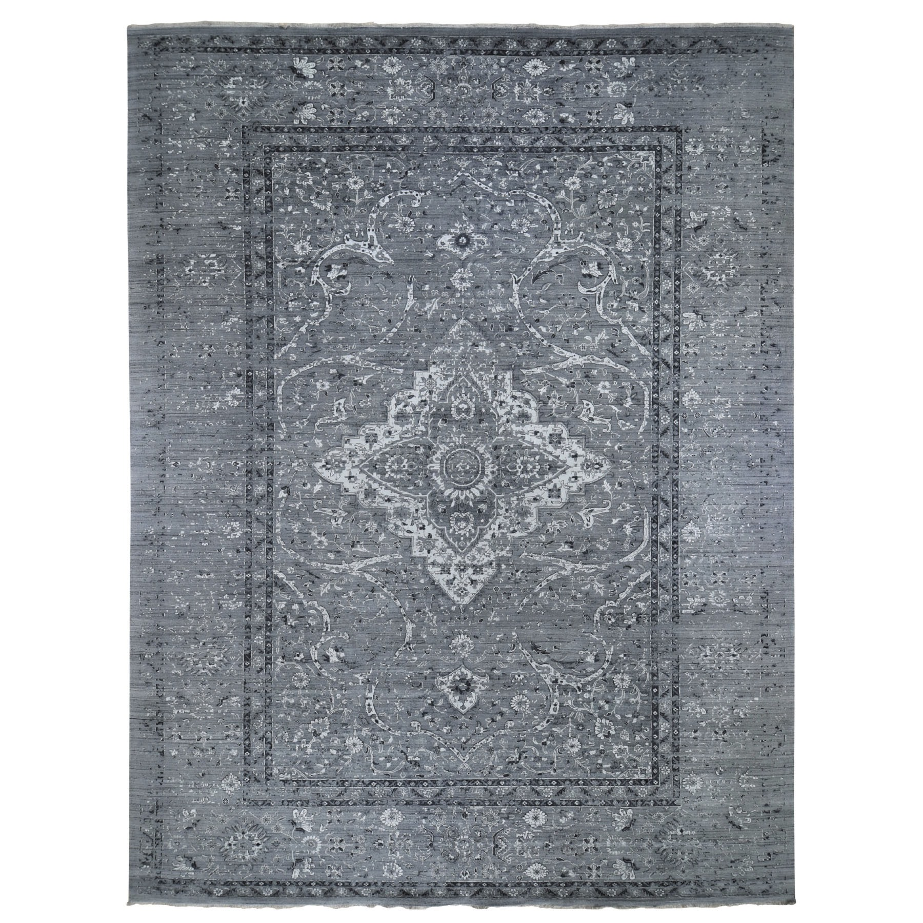 Transitional Hand Knotted Grey Rug No: 0195536