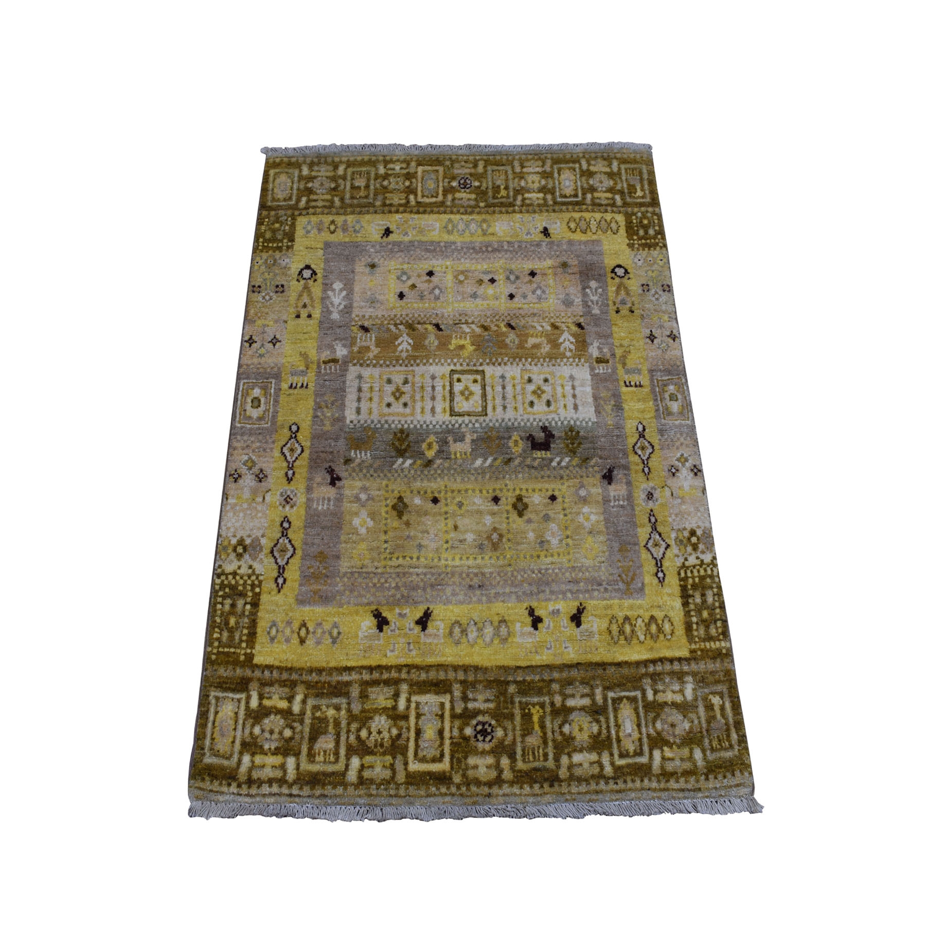 Nomadic And Village Collection Hand Knotted Yellow Rug No: 01103646