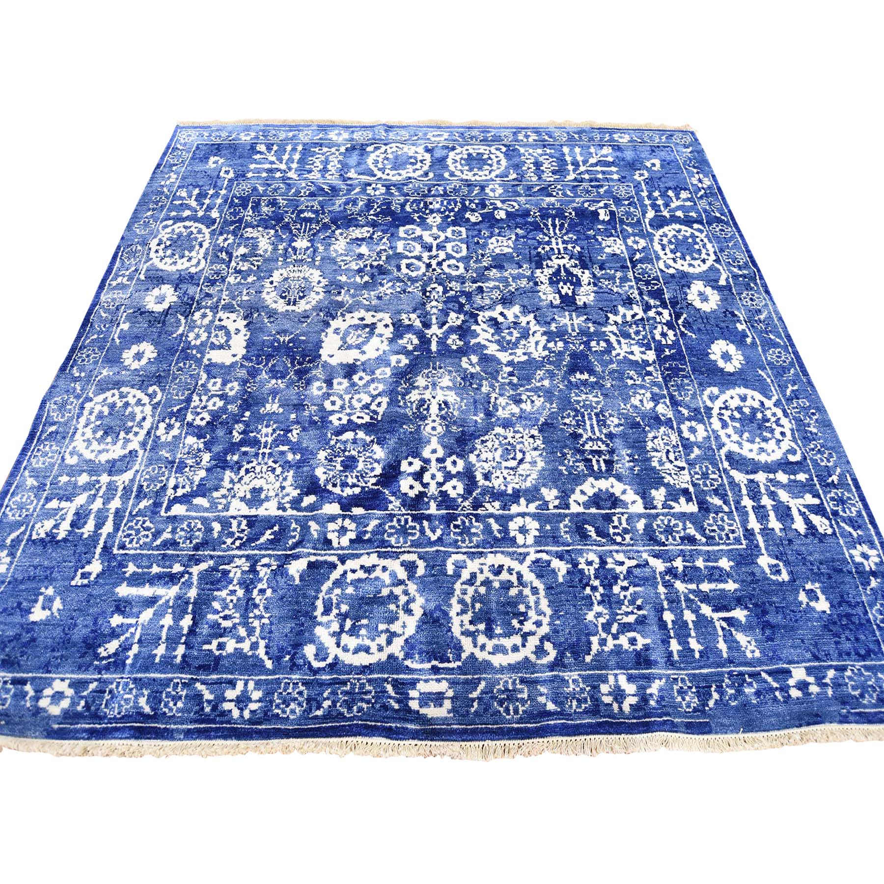 Transitional Hand Knotted Blue Rug No: 182994