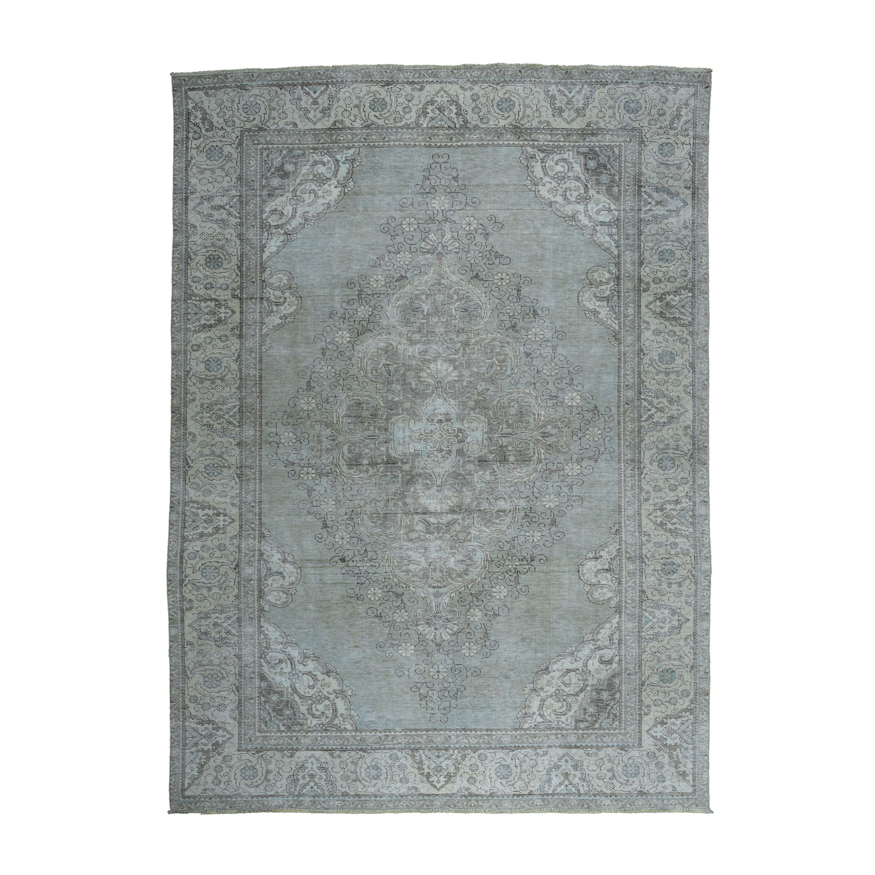 Fetneh Collection And Vintage Overdyed Collection Hand Knotted Teal Rug No: 1104264