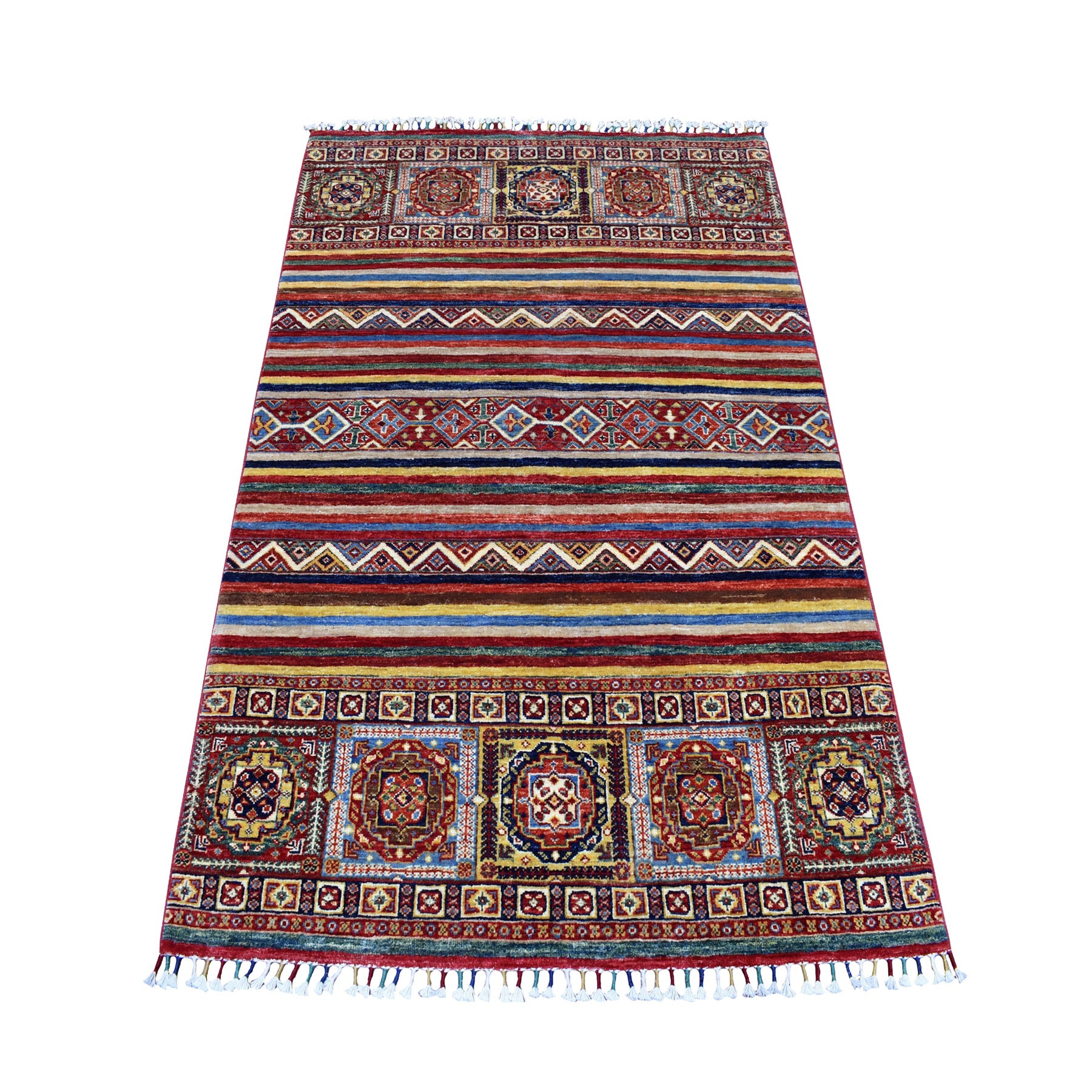 Caucasian Collection Hand Knotted Multicolored Rug No: 01105082