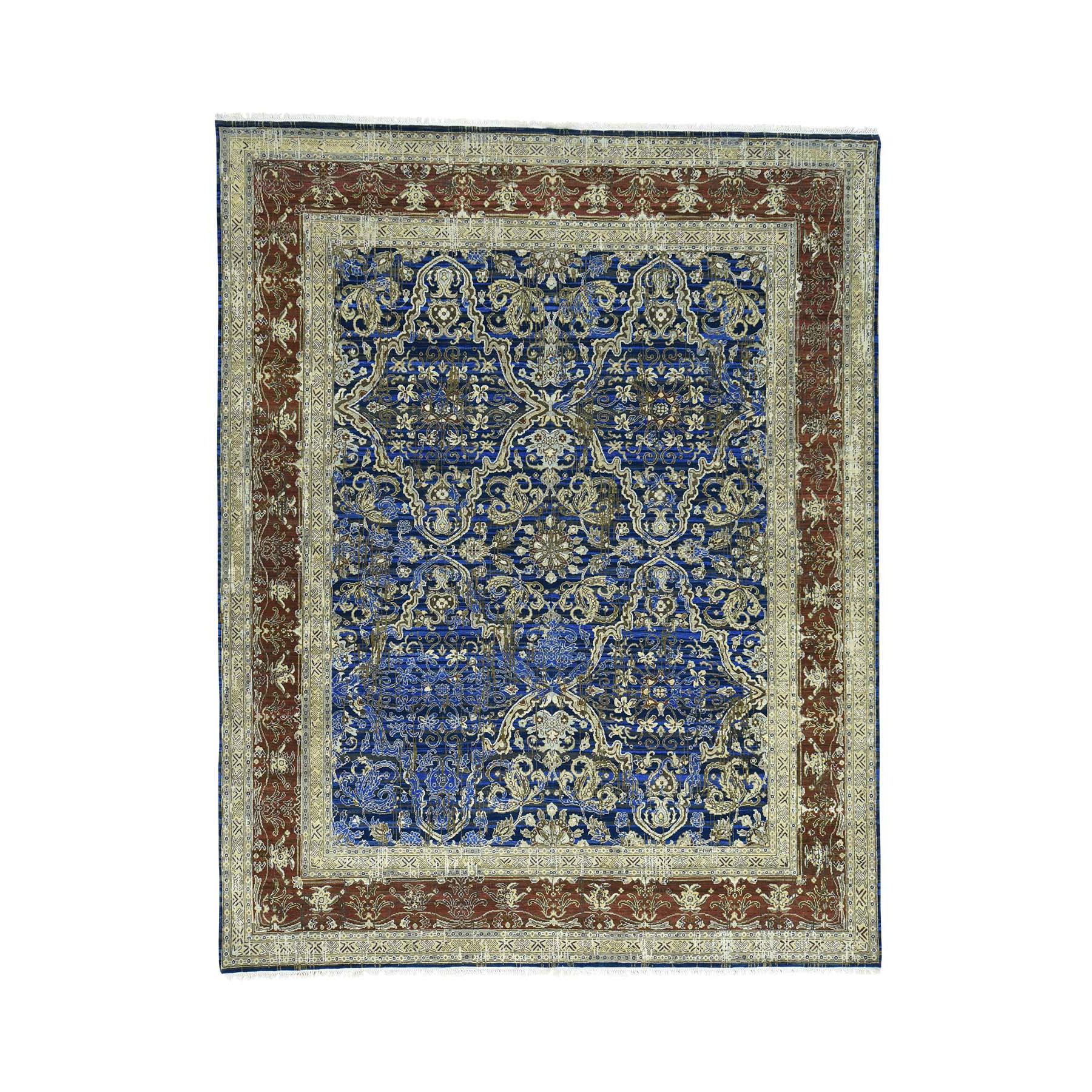 Mid Century Modern Collection Hand Knotted Blue Rug No: 0160366