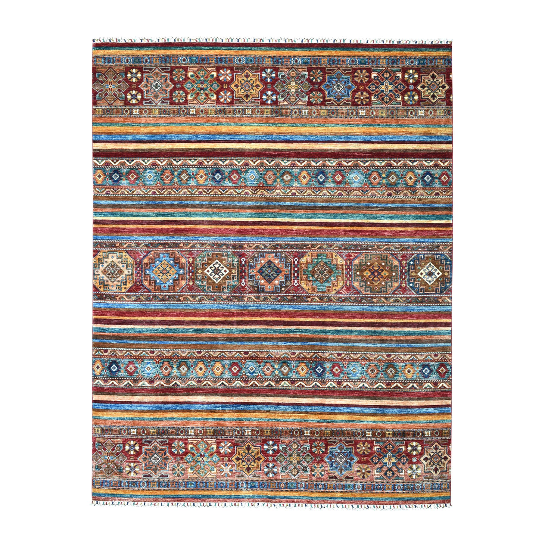 Caucasian Collection Hand Knotted Multicolored Rug No: 01104508