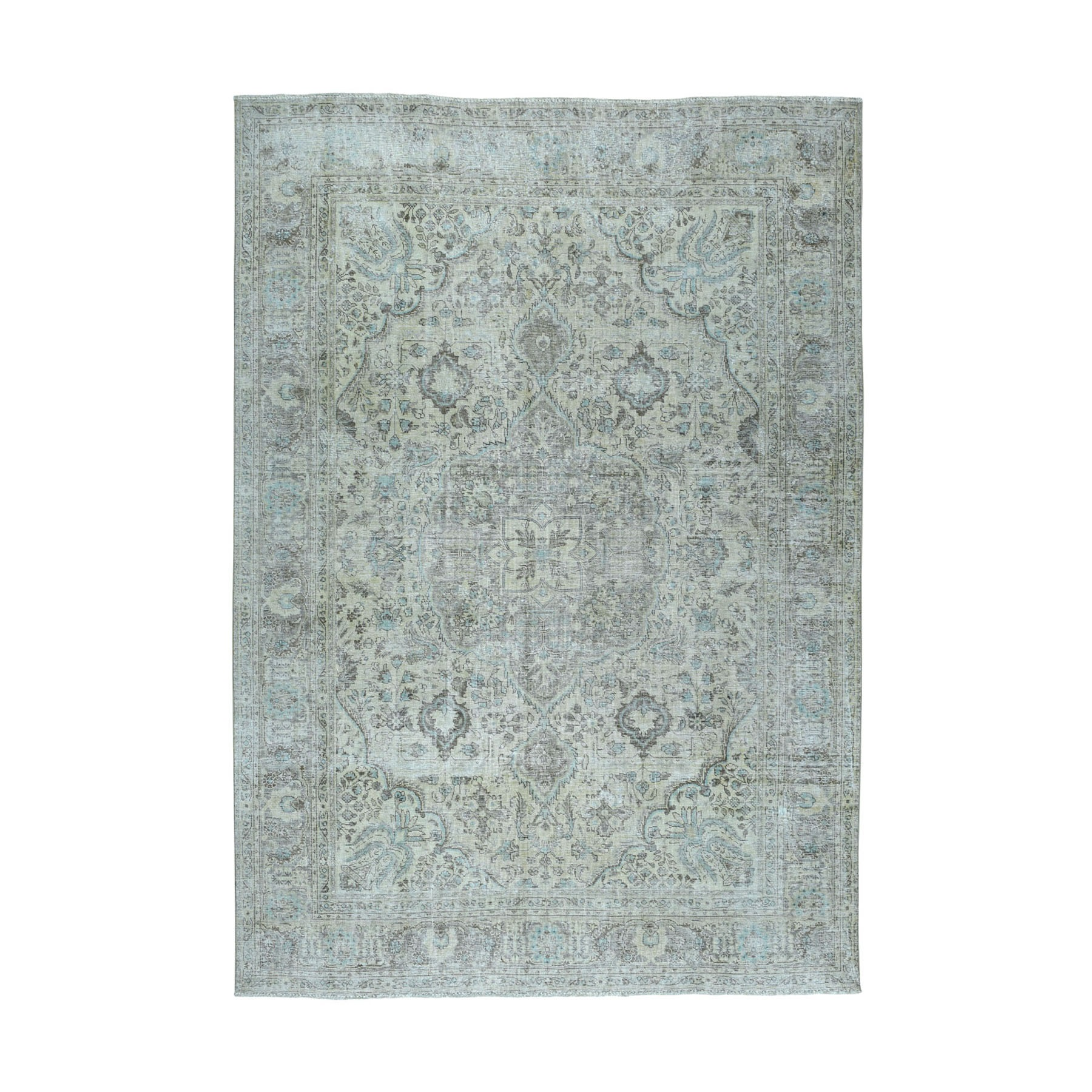 Fetneh Collection And Vintage Overdyed Collection Hand Knotted Beige Rug No: 01104542