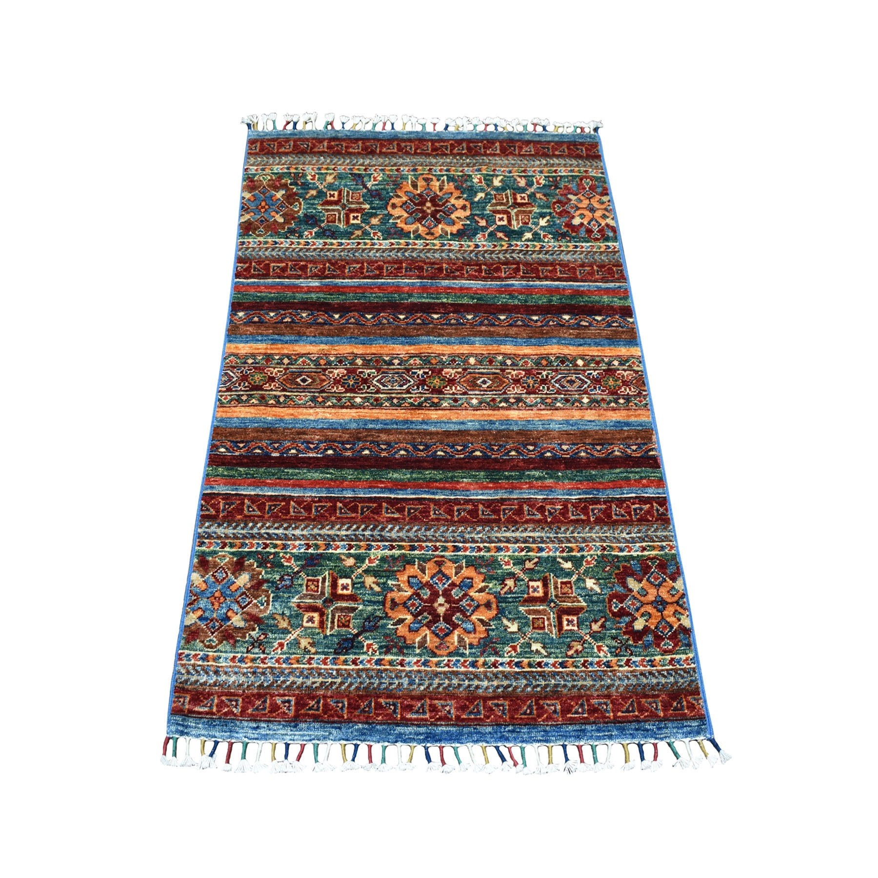 Caucasian Collection Hand Knotted Multicolored Rug No: 01104638