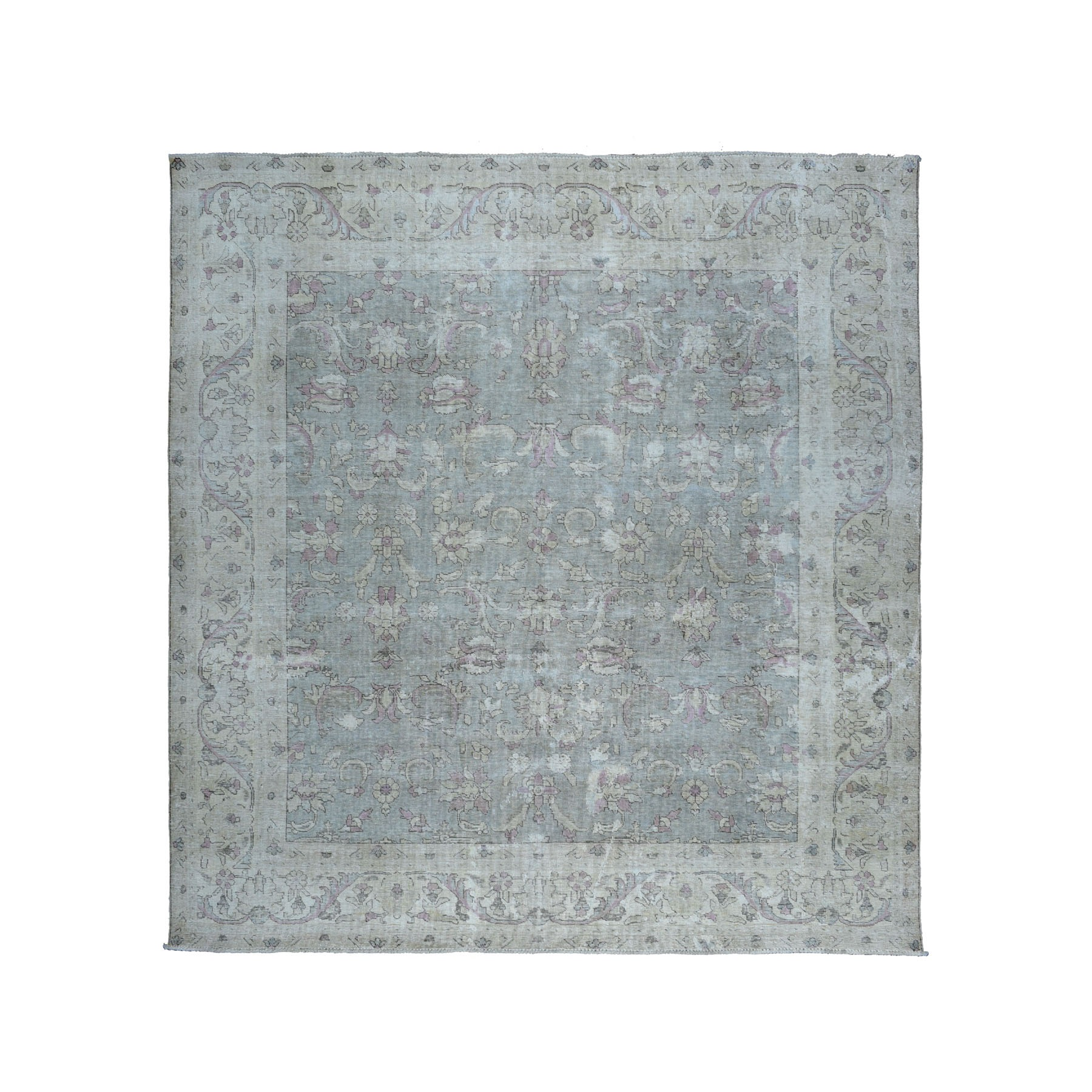 Fetneh Collection And Vintage Overdyed Collection Hand Knotted Green Rug No: 01104848
