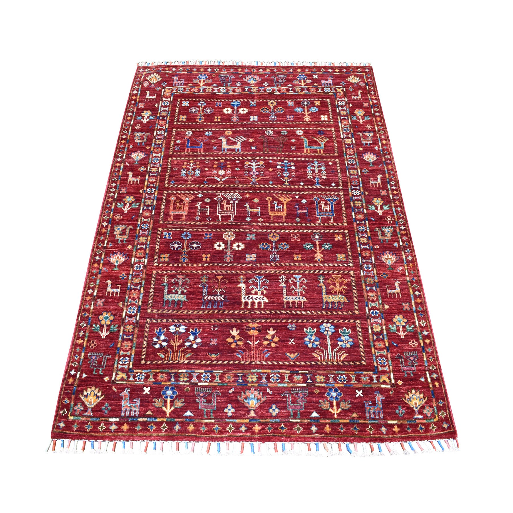 Caucasian Collection Hand Knotted Red Rug No: 01105228