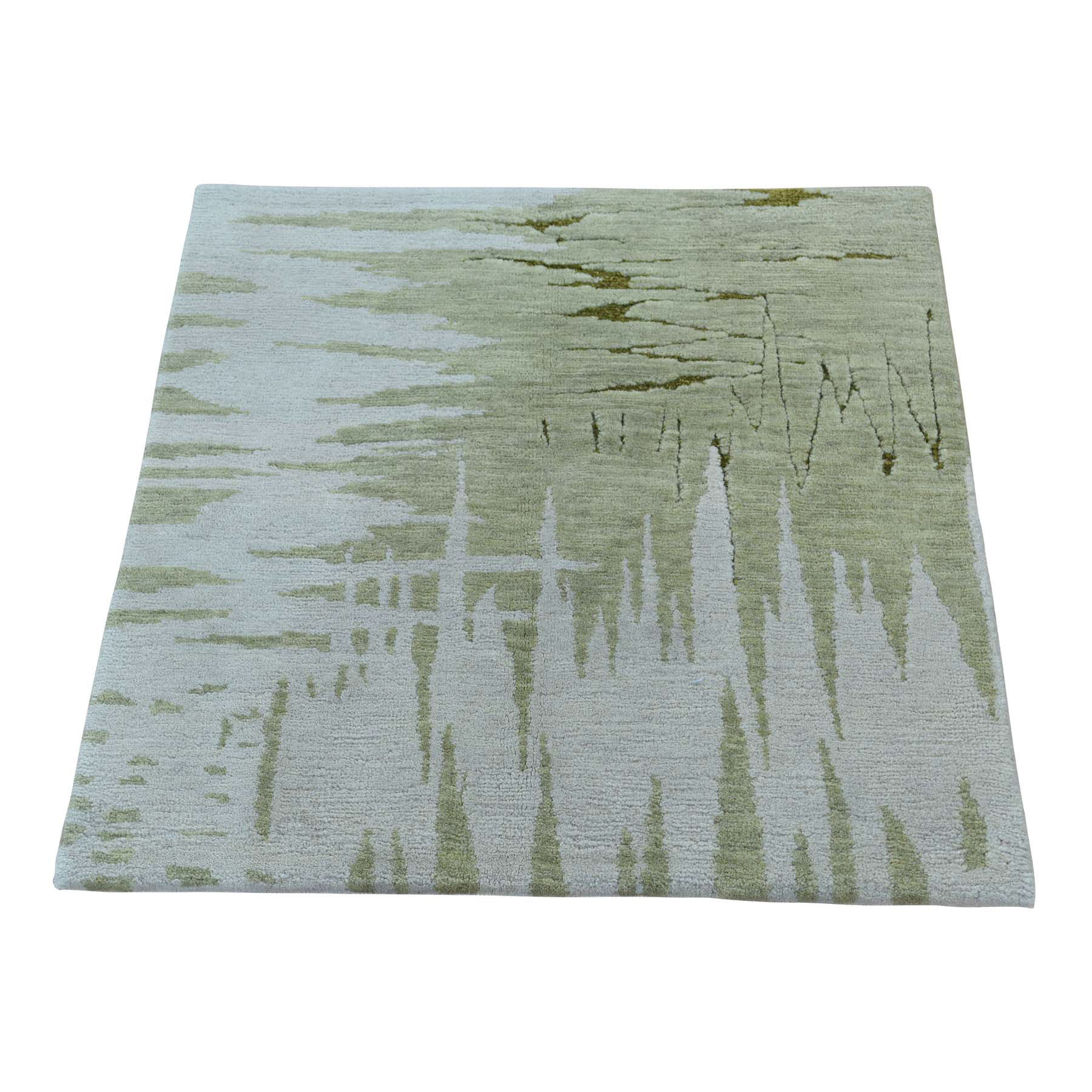 Mid Century Modern Collection Hand Knotted Ivory Rug No: 0172410