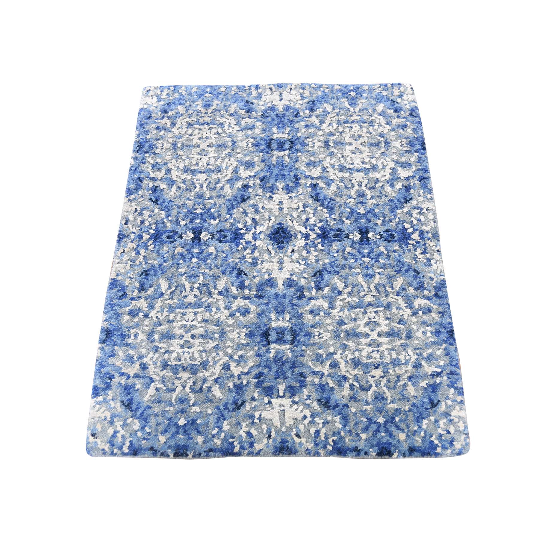 Mid Century Modern Collection Hand Knotted Blue Rug No: 0187772