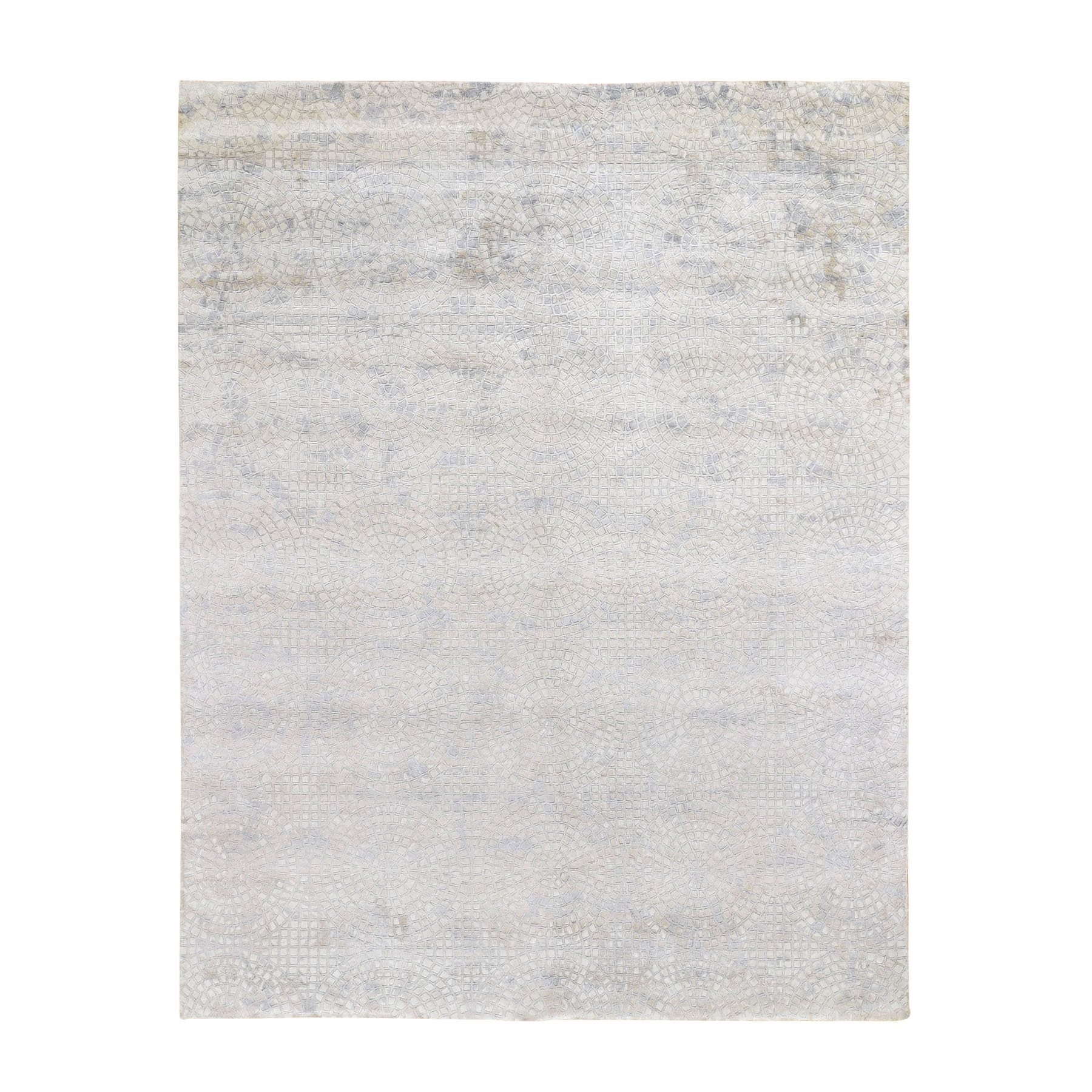 Mid Century Modern Collection Hand Knotted Ivory Rug No: 0195676