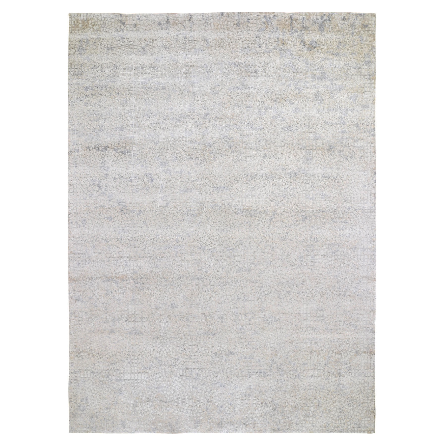 Mid Century Modern Collection Hand Knotted Ivory Rug No: 0195672