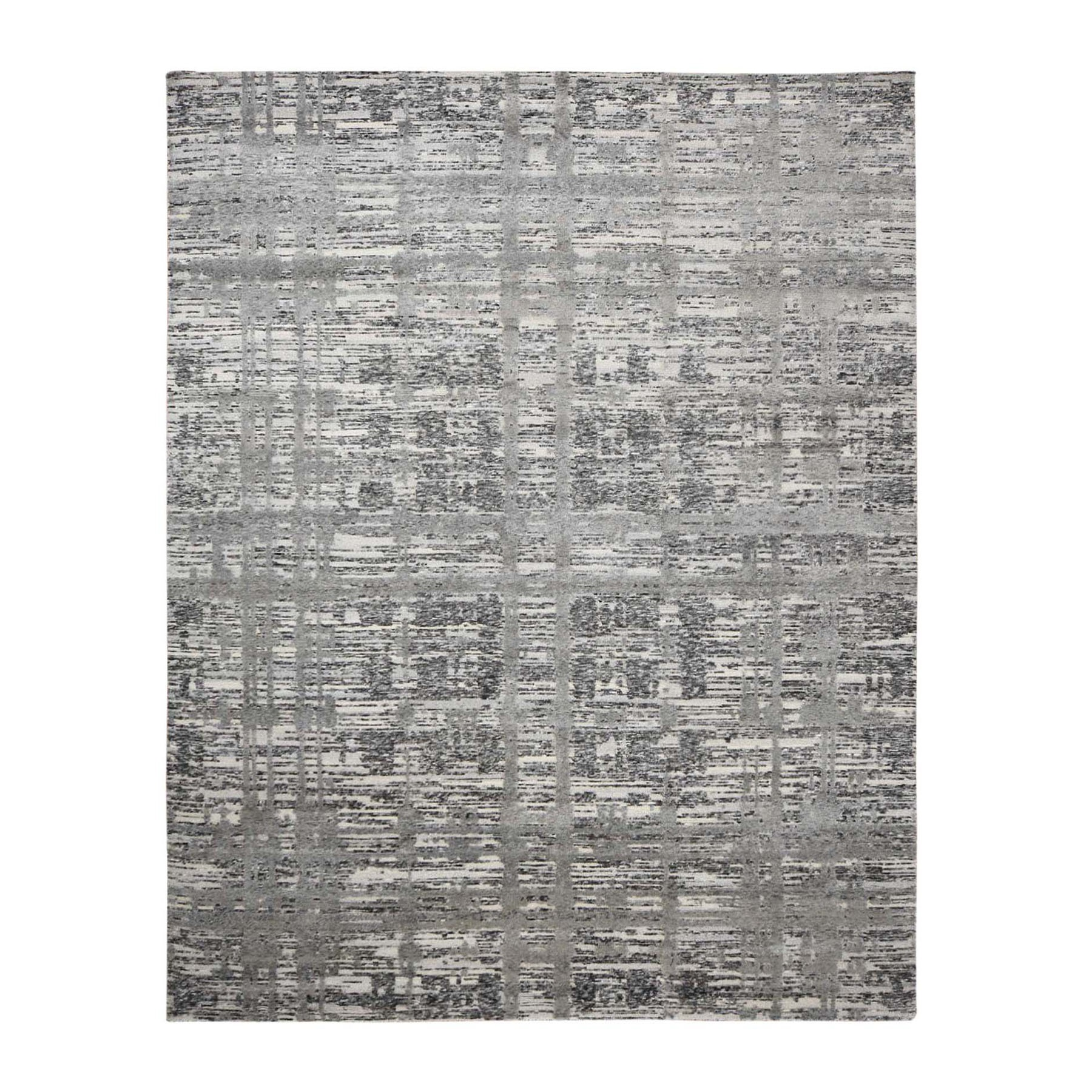 Mid Century Modern Collection Hand Knotted Grey Rug No: 0195674