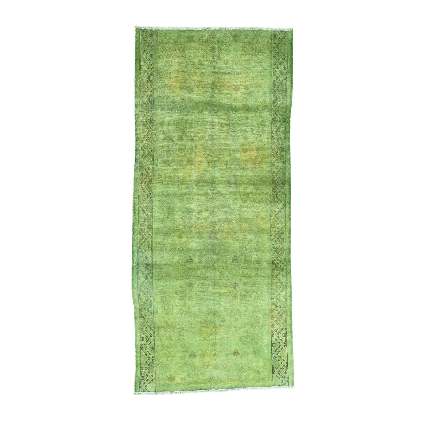 Fetneh Collection And Vintage Overdyed Collection Hand Knotted Green Rug No: 0160874