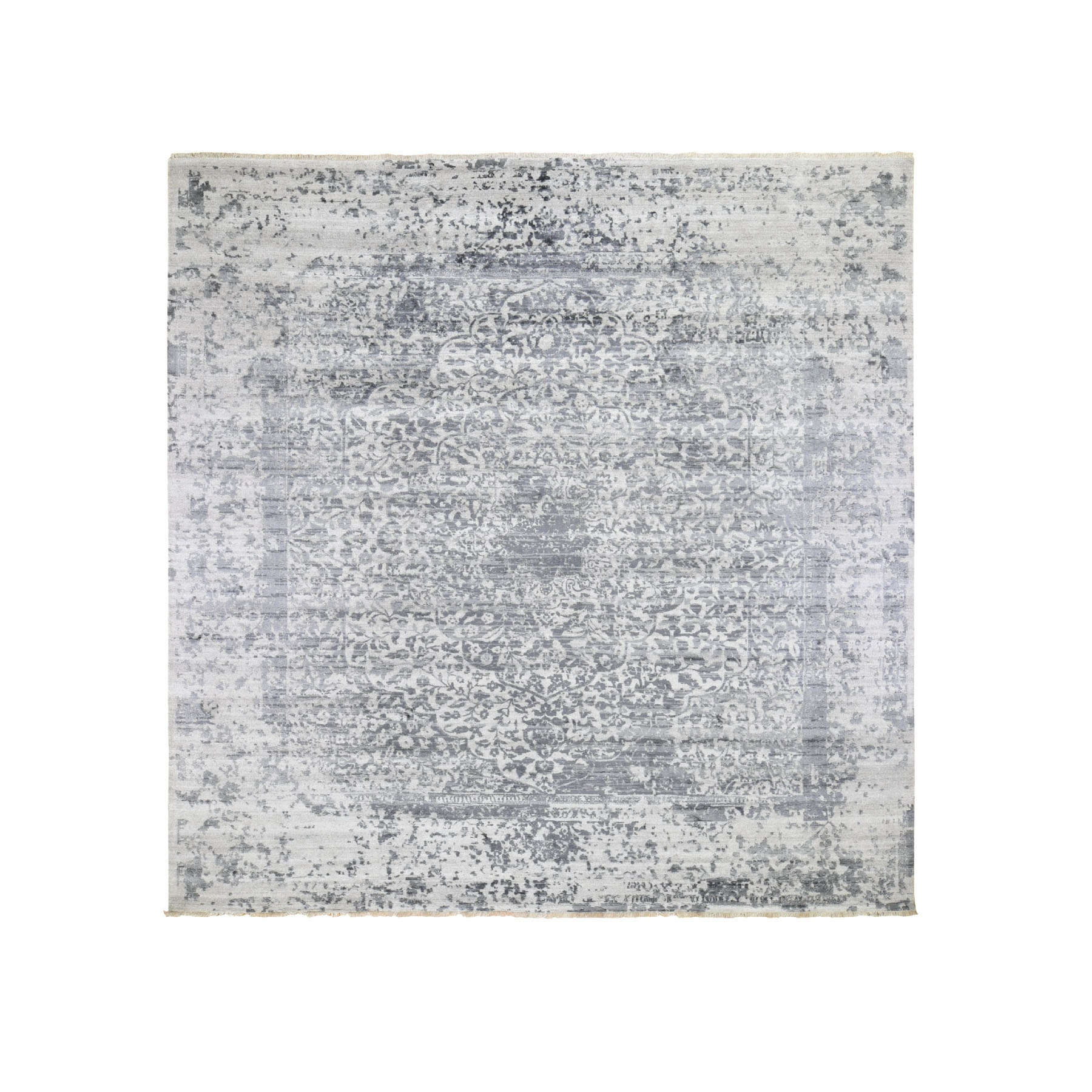 Transitional Hand Knotted Grey Rug No: 195886