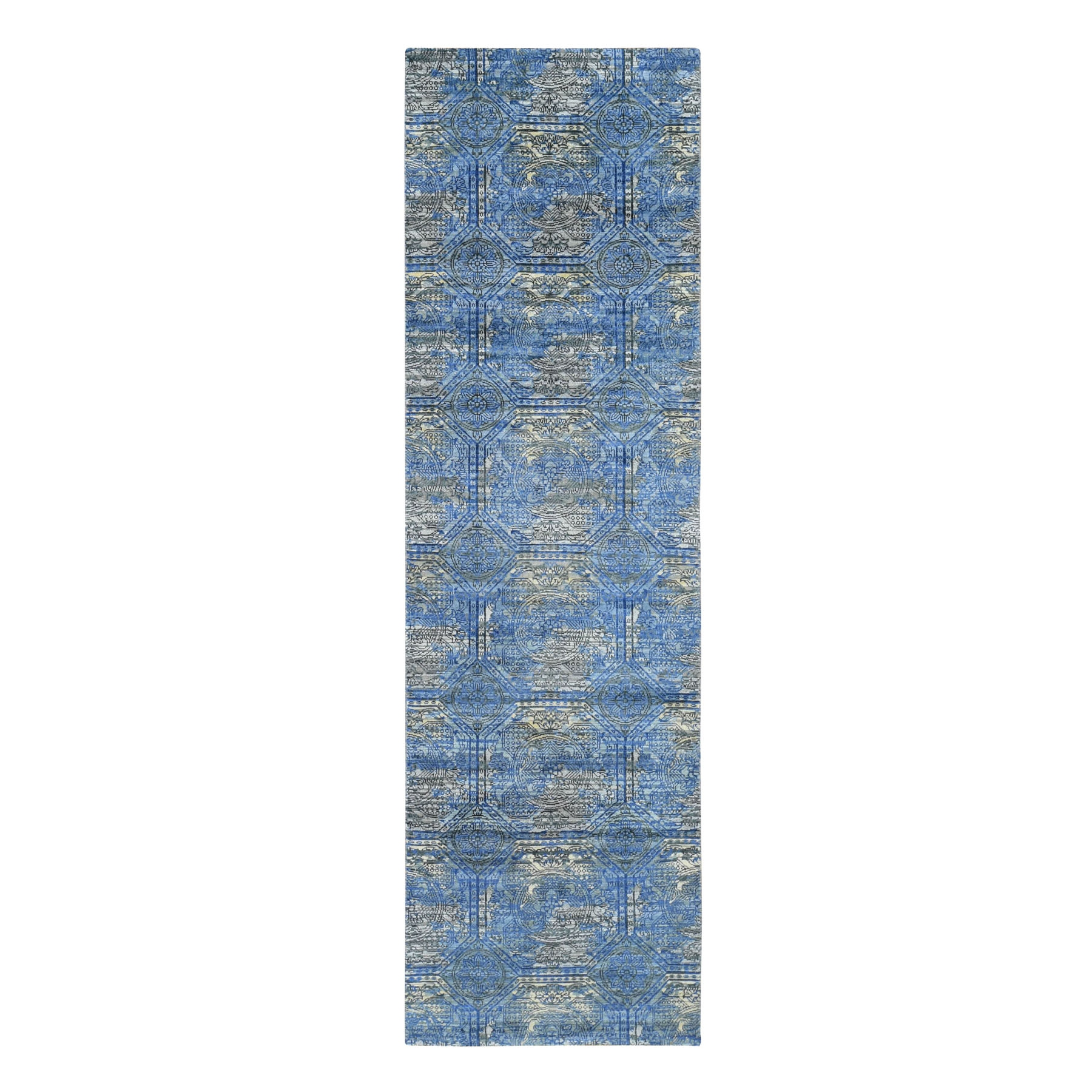 Mid Century Modern Collection Hand Knotted Blue Rug No: 0195774