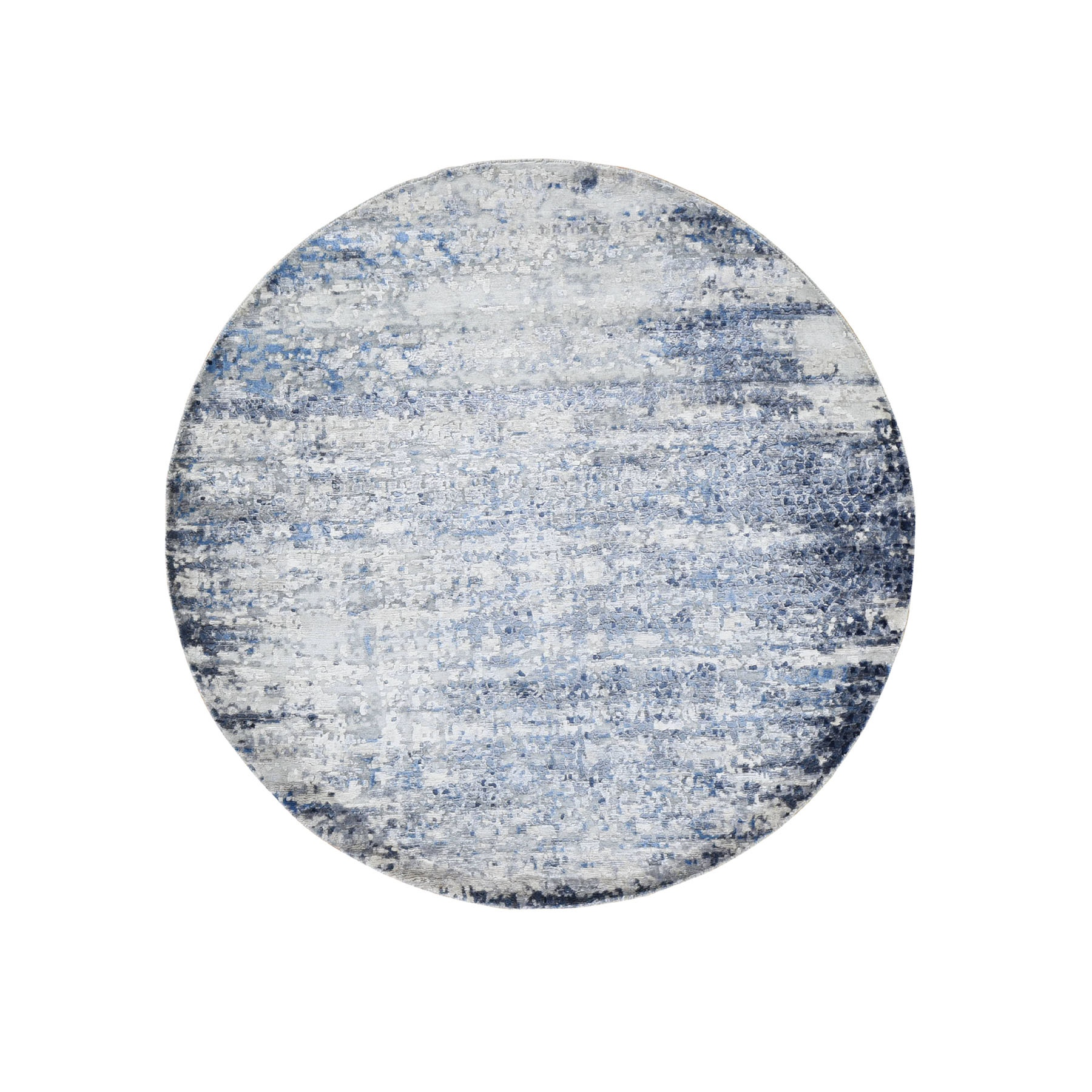 Mid Century Modern Collection Hand Knotted Blue Rug No: 0195936