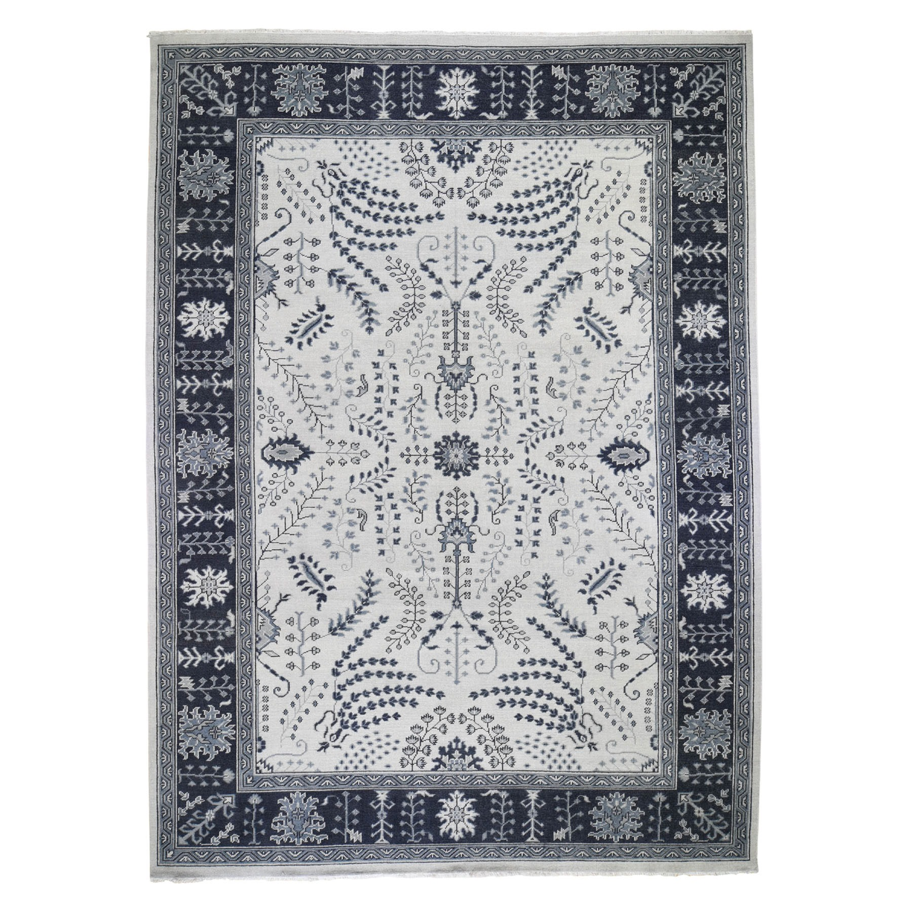 Agra And Turkish Collection Hand Knotted Grey 0195940 Rug