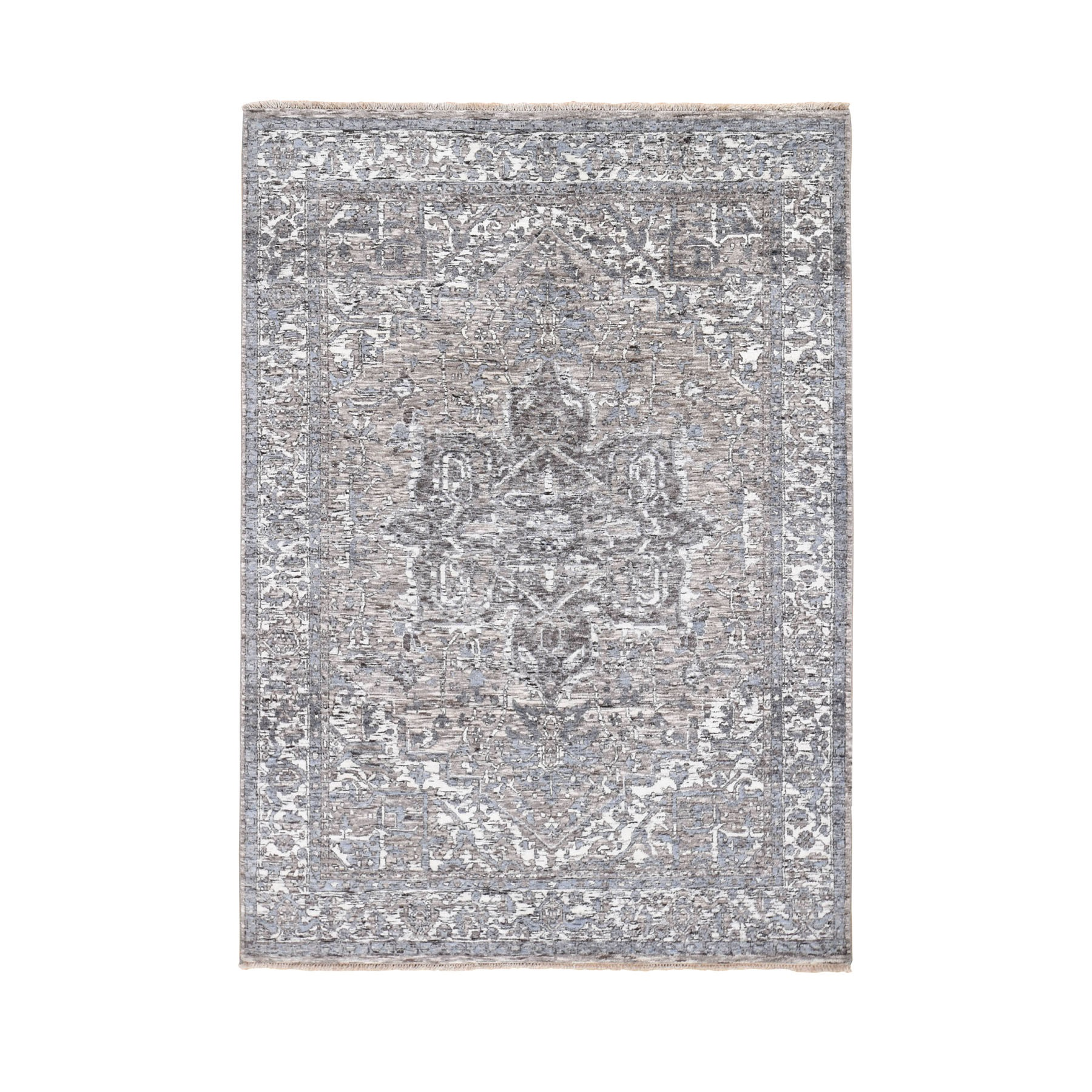 Serapi Heriz and Bakhshayesh Collection Hand Knotted Grey Rug No: 0195990