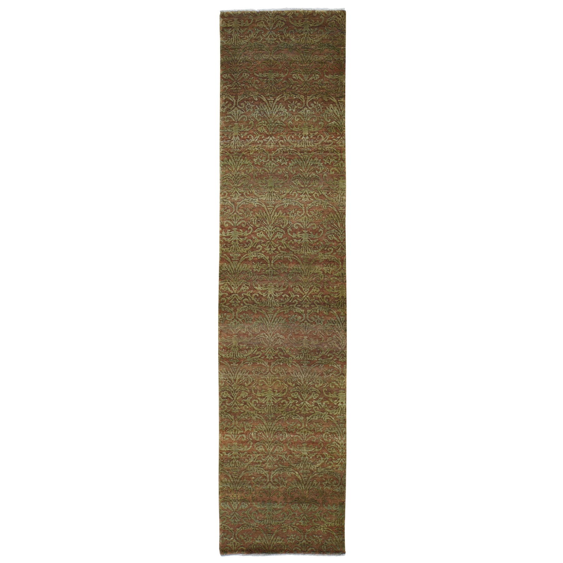 Mid Century Modern Collection Hand Knotted Brown Rug No: 0196020