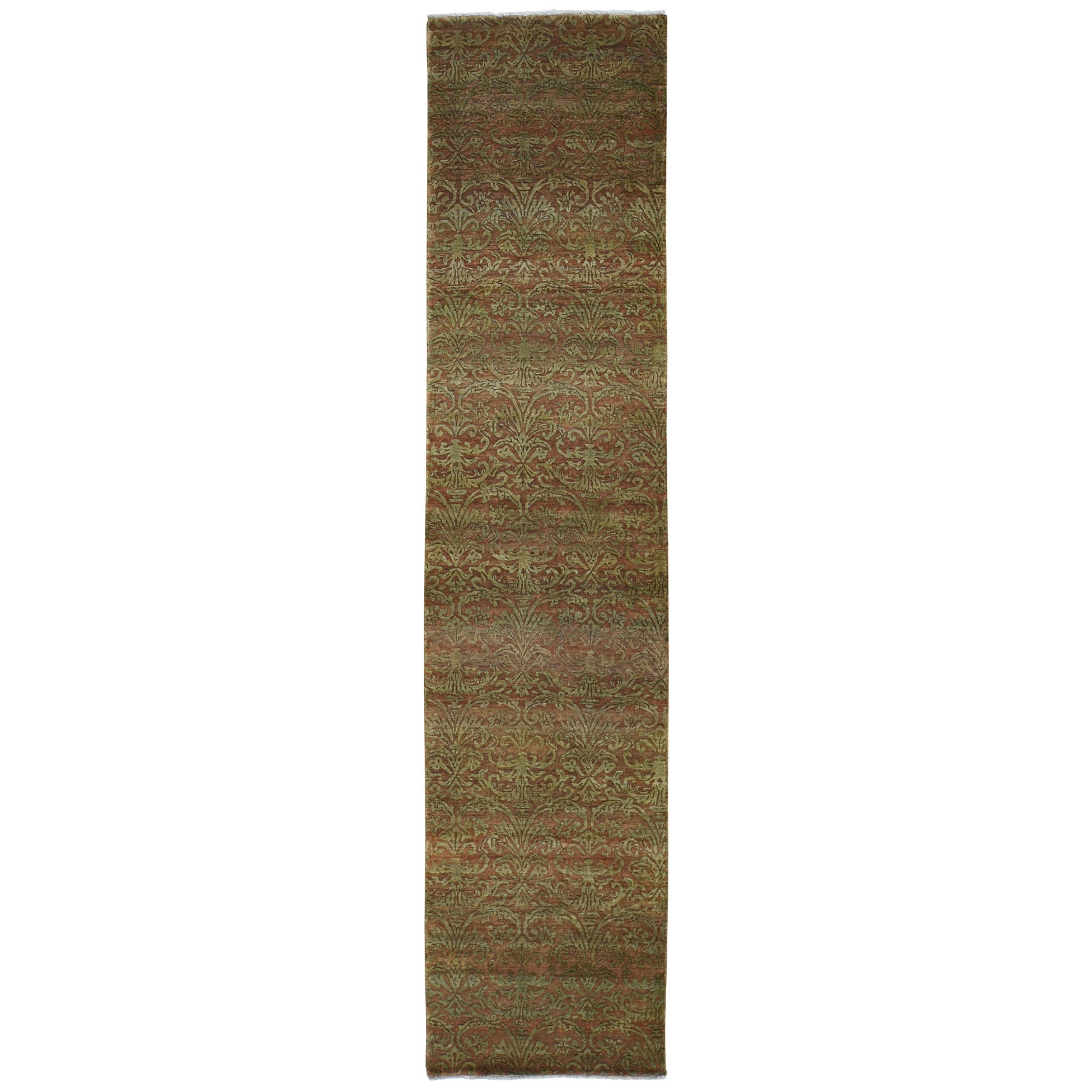 Mid Century Modern Collection Hand Knotted Brown Rug No: 0196022