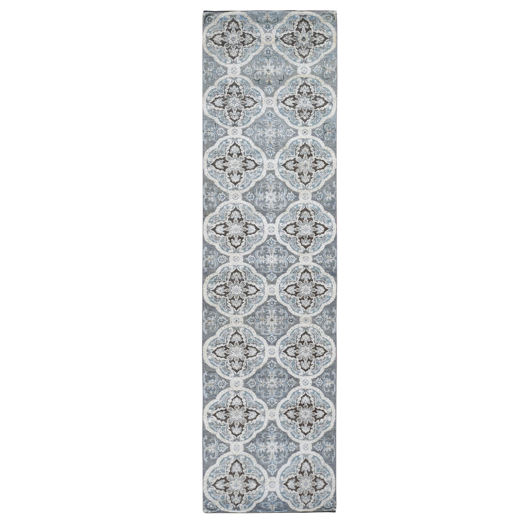 Transitional Hand Knotted Grey Rug No: 0196054