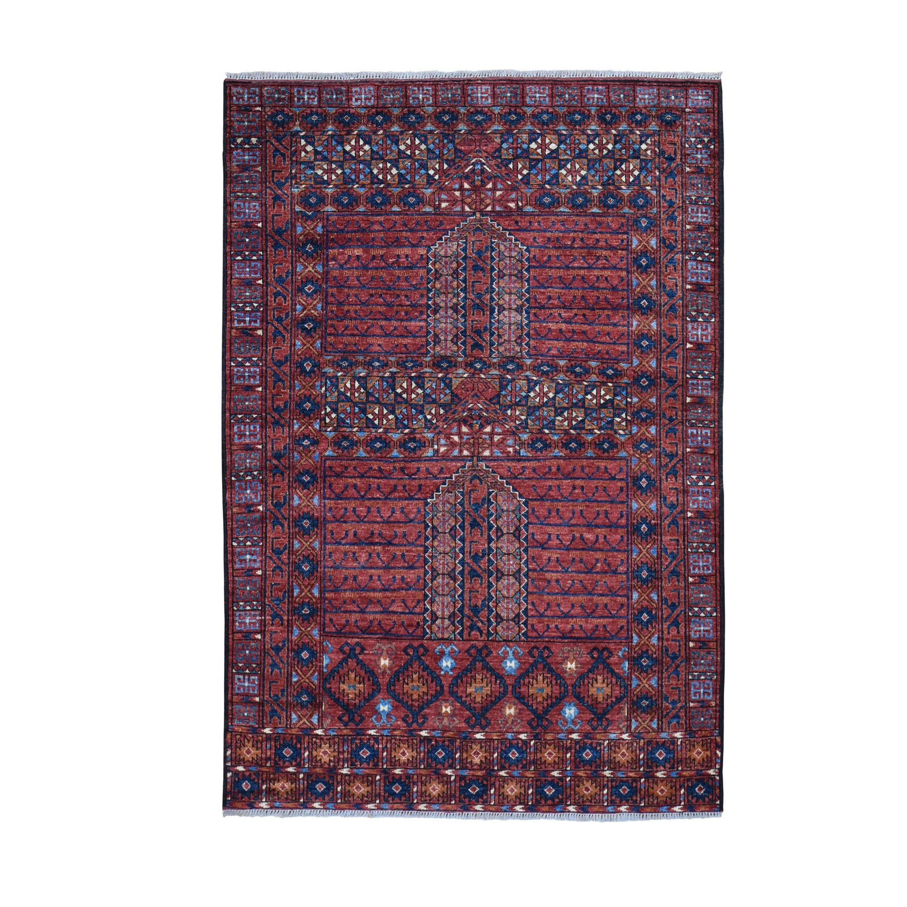 Nomadic And Village Collection Hand Knotted Red Rug No: 0196098