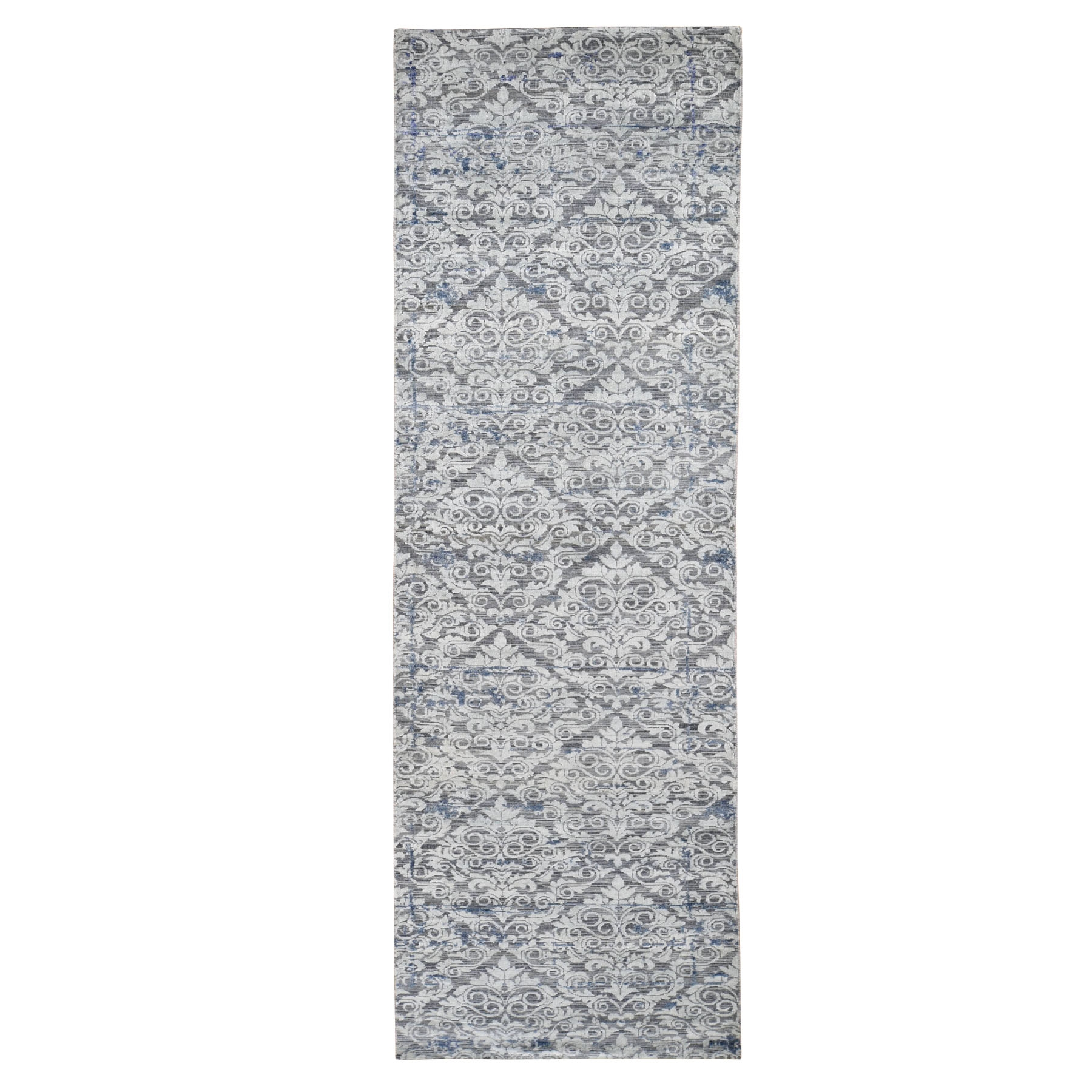 Mid Century Modern Collection Hand Knotted Grey Rug No: 0196056