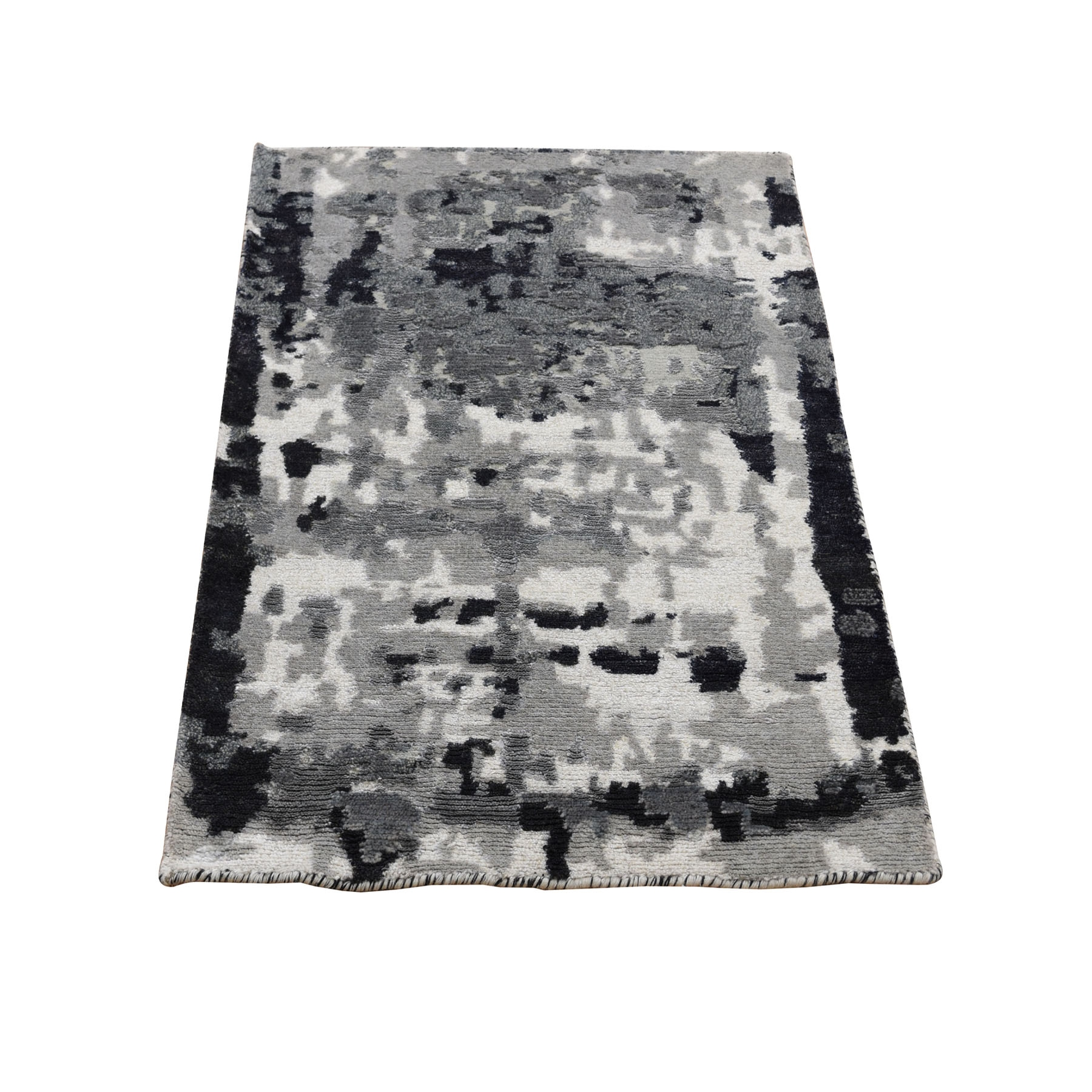 Mid Century Modern Collection Hand Knotted Grey Rug No: 0196228