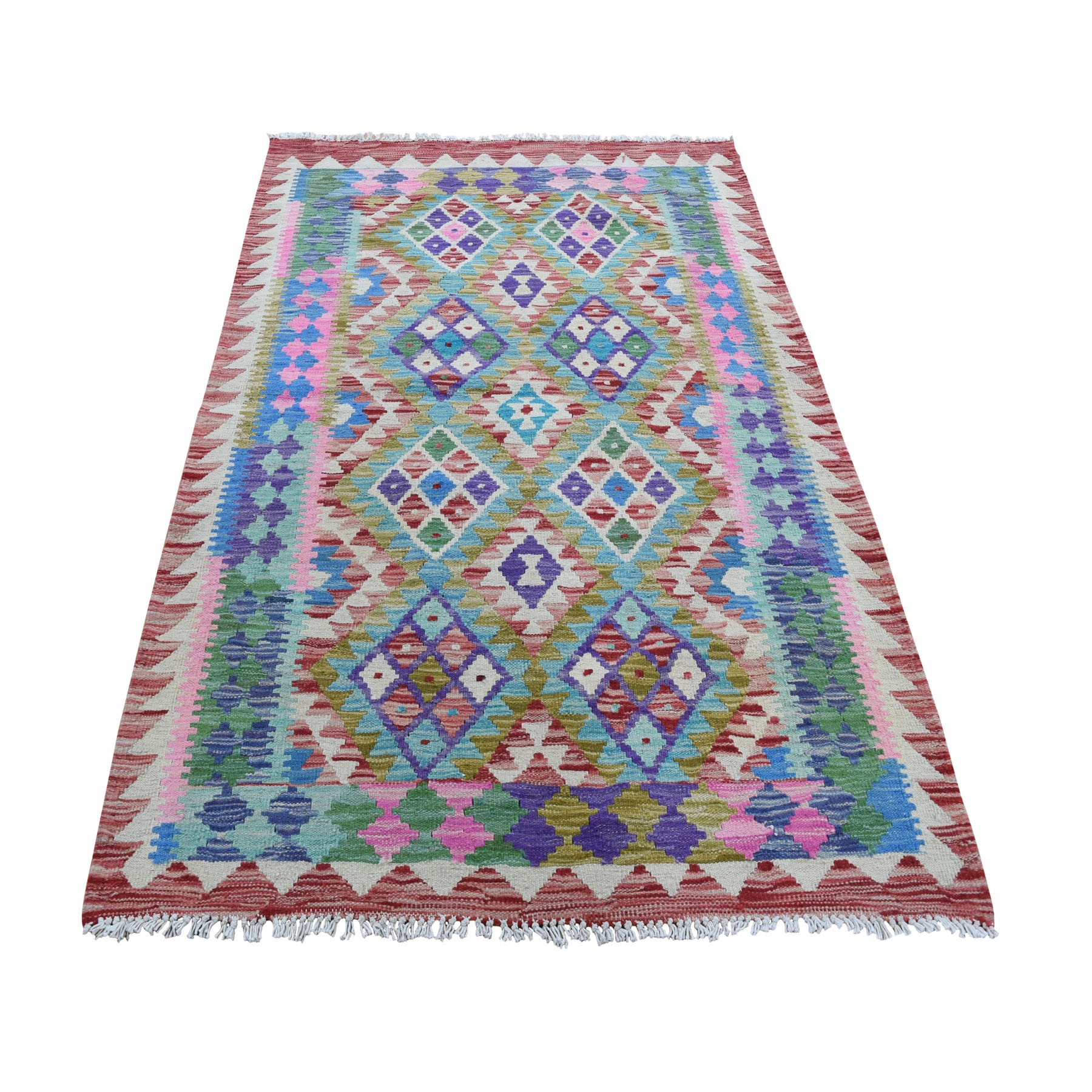 Fine Kilim Collection Hand Woven Pink Rug No: 0196282