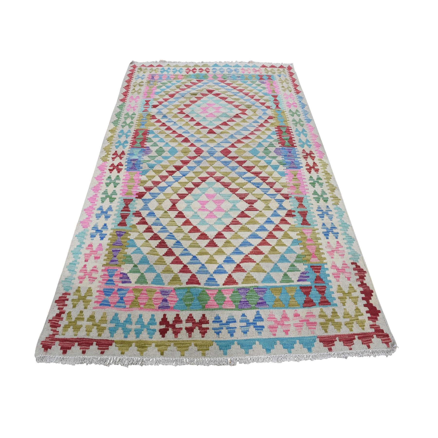 Fine Kilim Collection Hand Woven Pink Rug No: 0196284