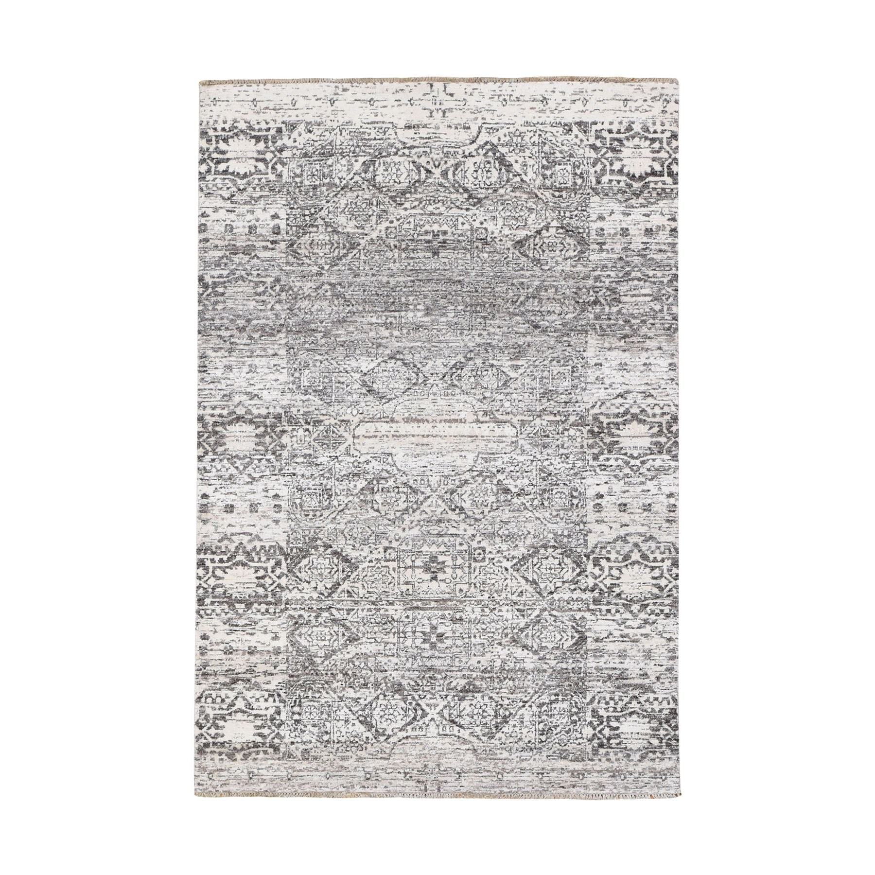 Intricate Collection Hand Knotted Grey Rug No: 0195046