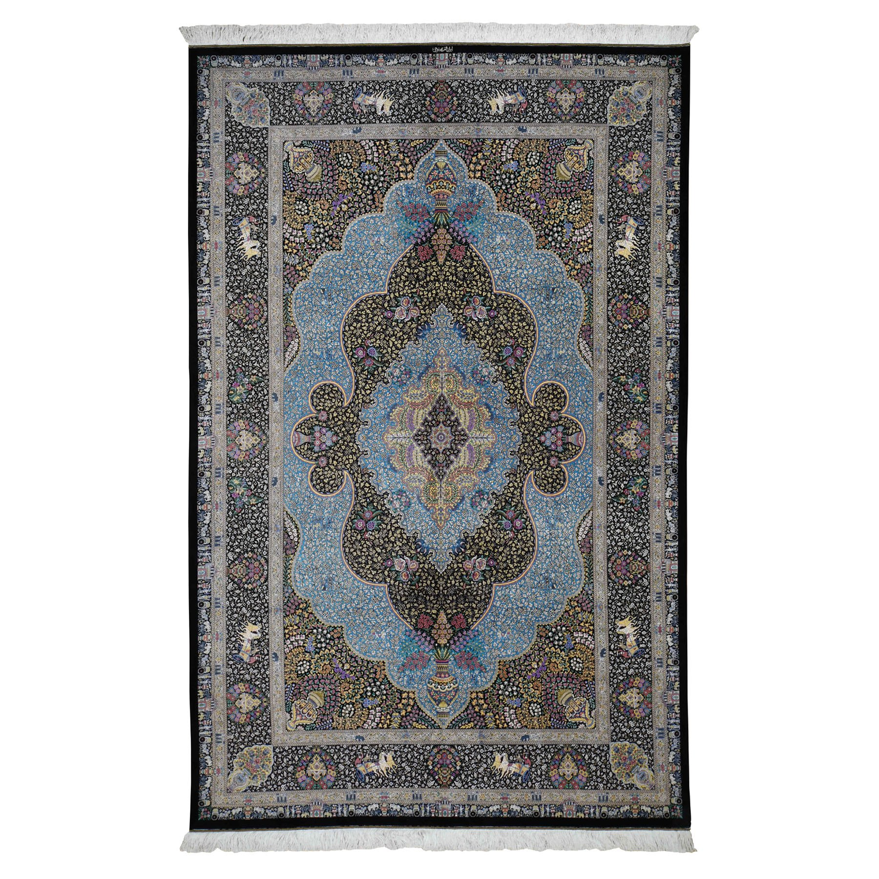 Classic Persian Collection Hand Knotted Black Rug No: 0196352
