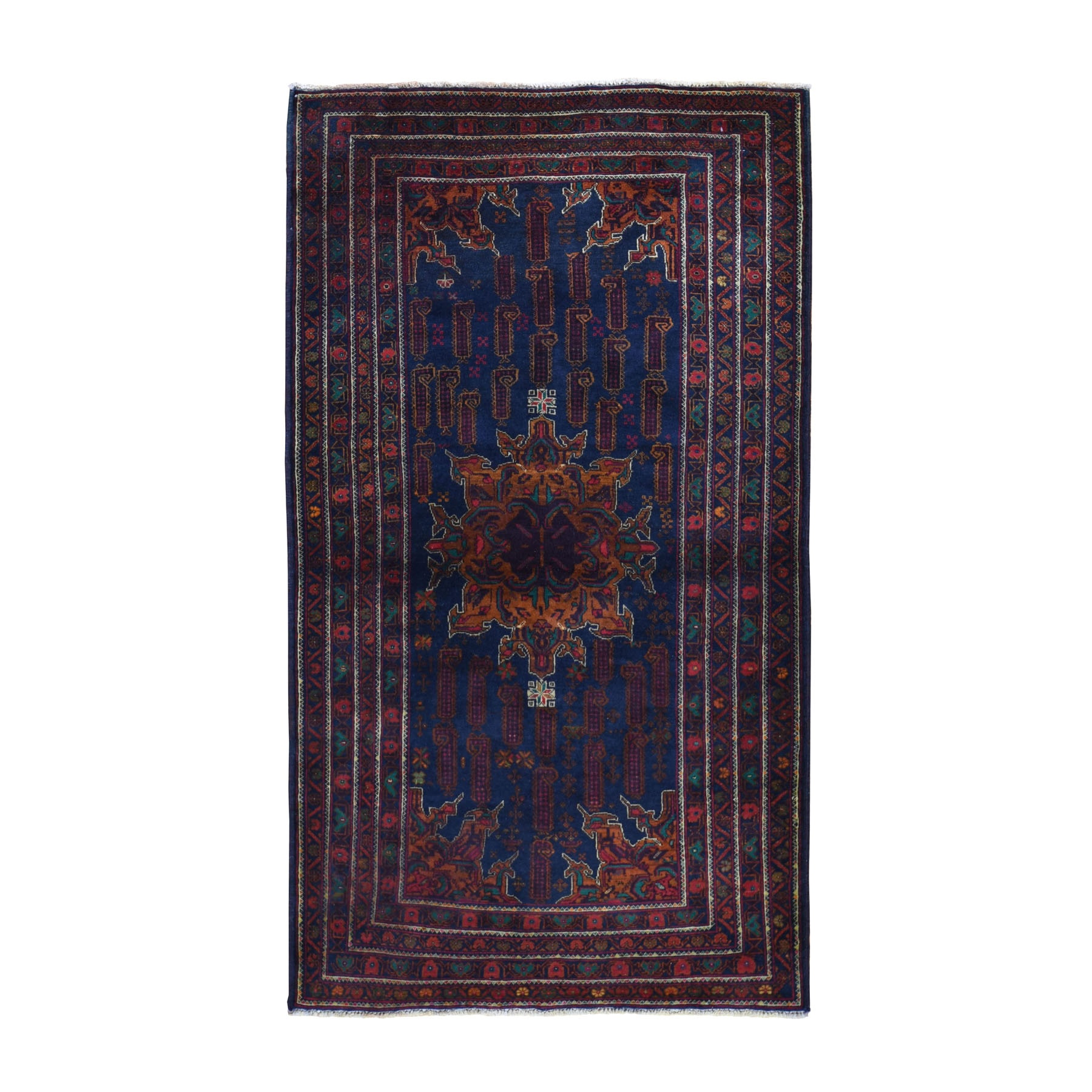 Nomadic And Village Collection Hand Knotted Blue Rug No: 0196294