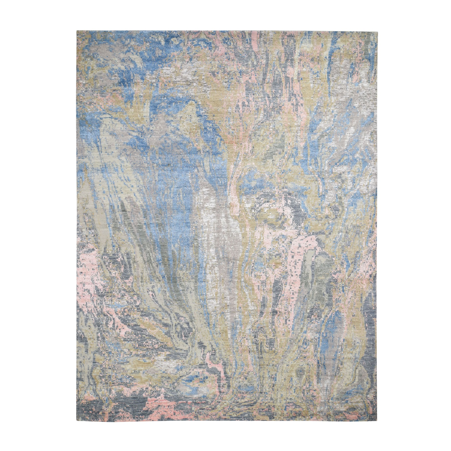 Mid Century Modern Collection Hand Knotted Beige Rug No: 0196414