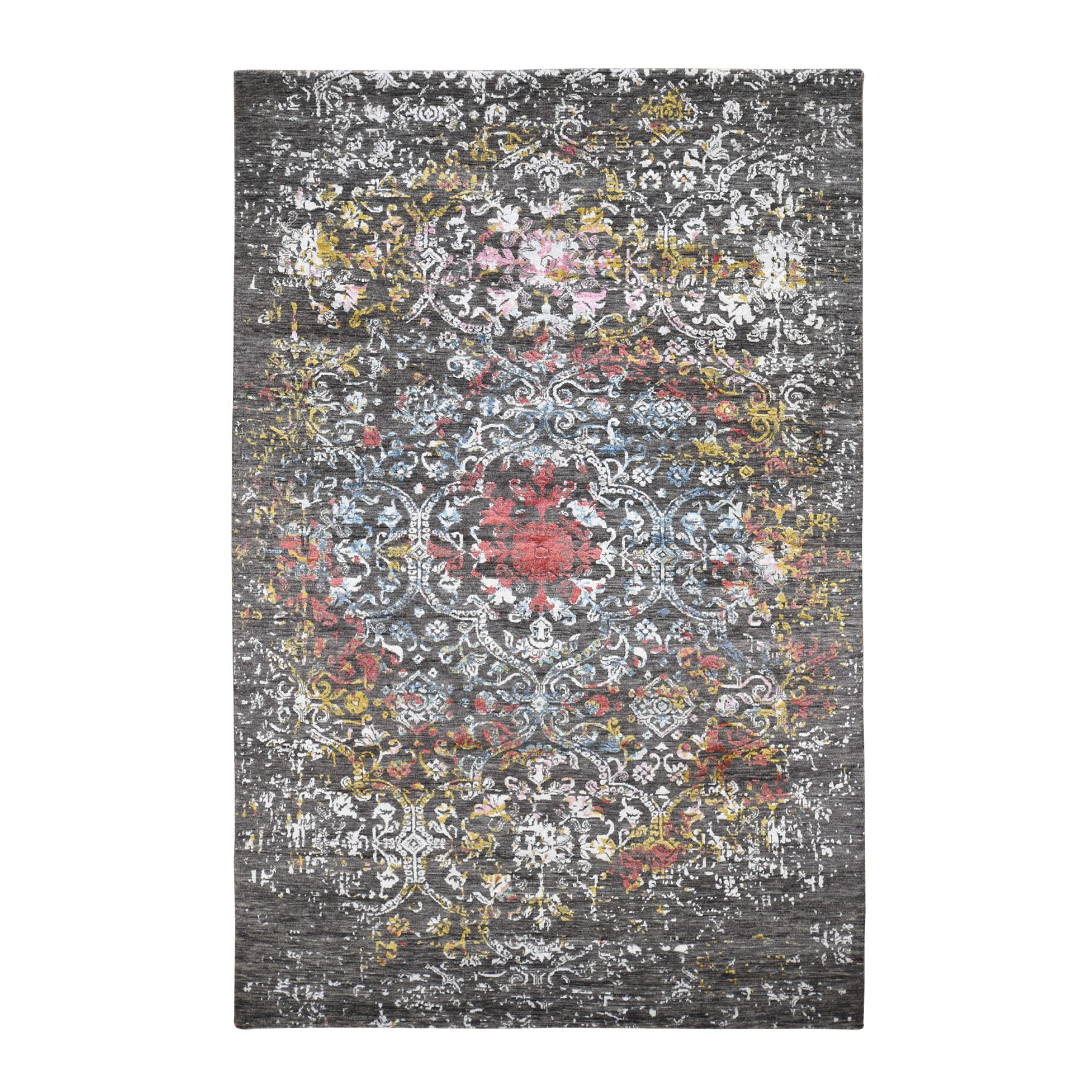 Transitional Hand Knotted Grey Rug No: 0196424
