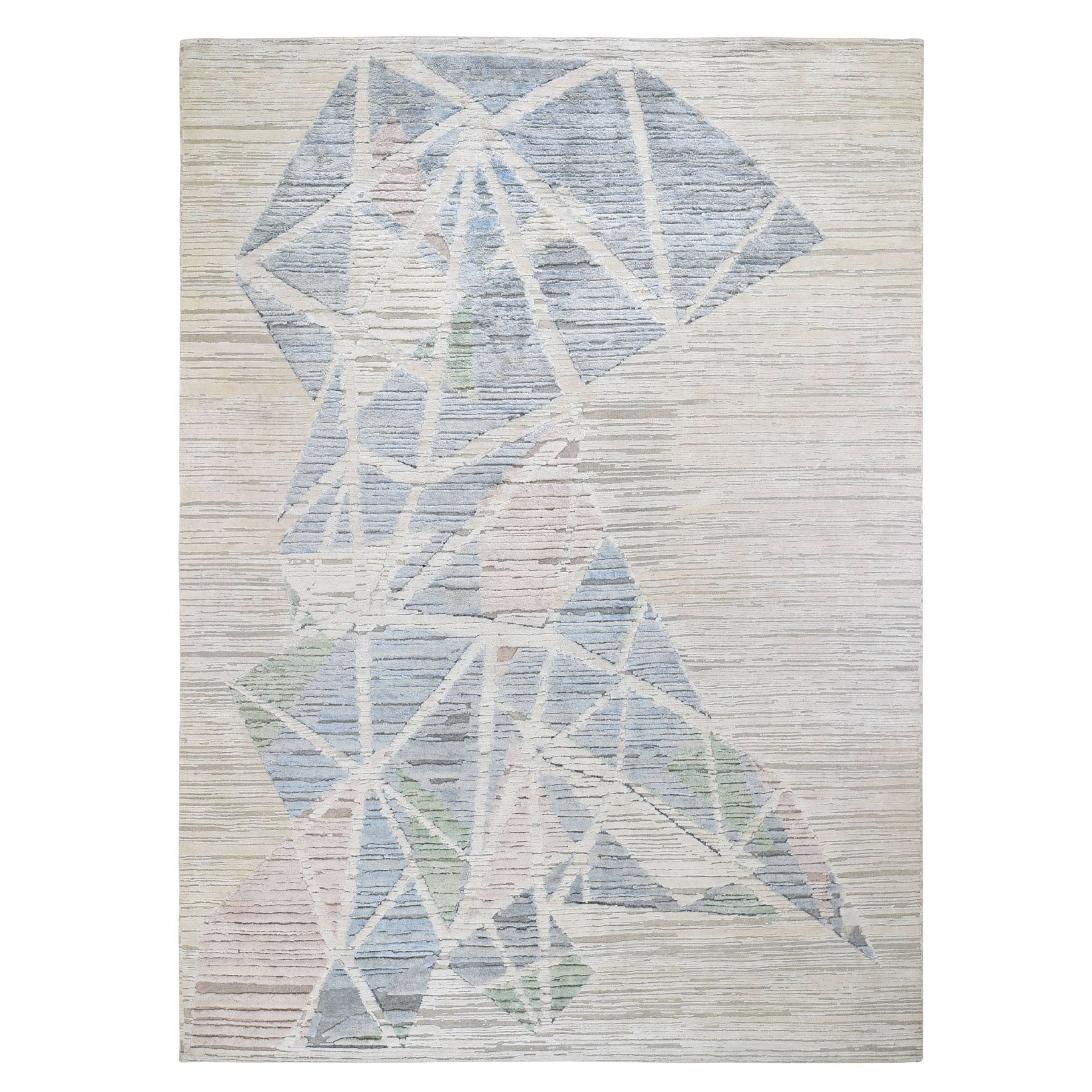 Mid Century Modern Collection Hand Knotted Ivory Rug No: 0196428