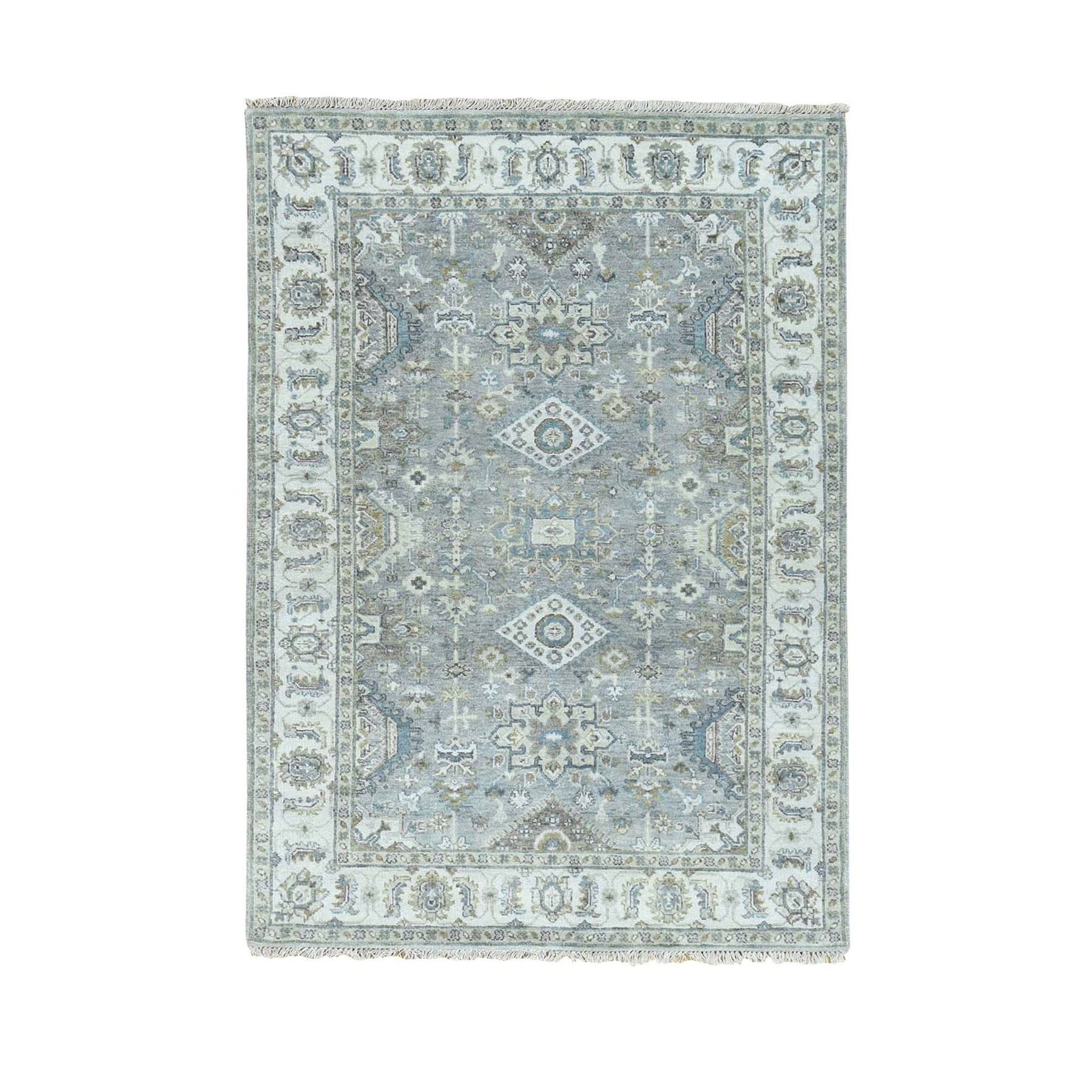 Serapi Heriz and Bakhshayesh Collection Hand Knotted Grey Rug No: 0196464