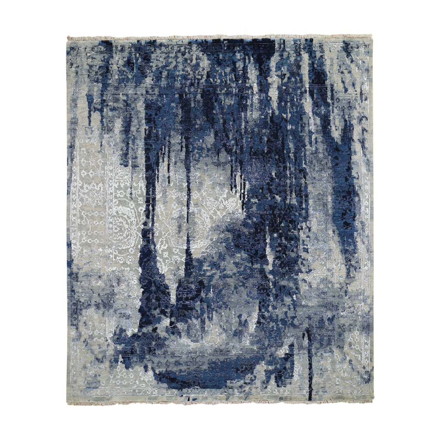 Transitional Hand Knotted Blue Rug No: 0196468