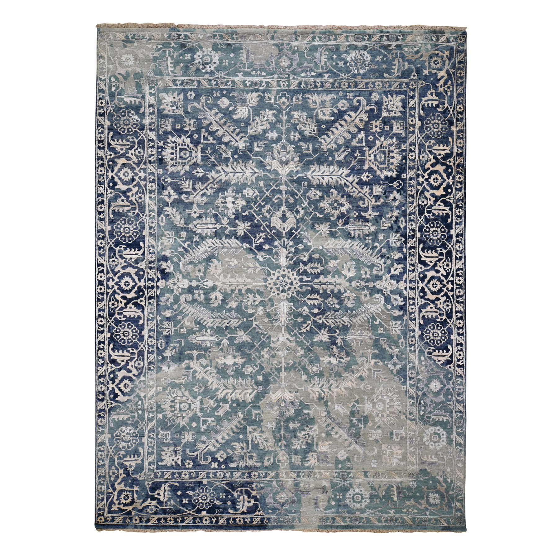 Transitional Hand Knotted Blue Rug No: 0196470