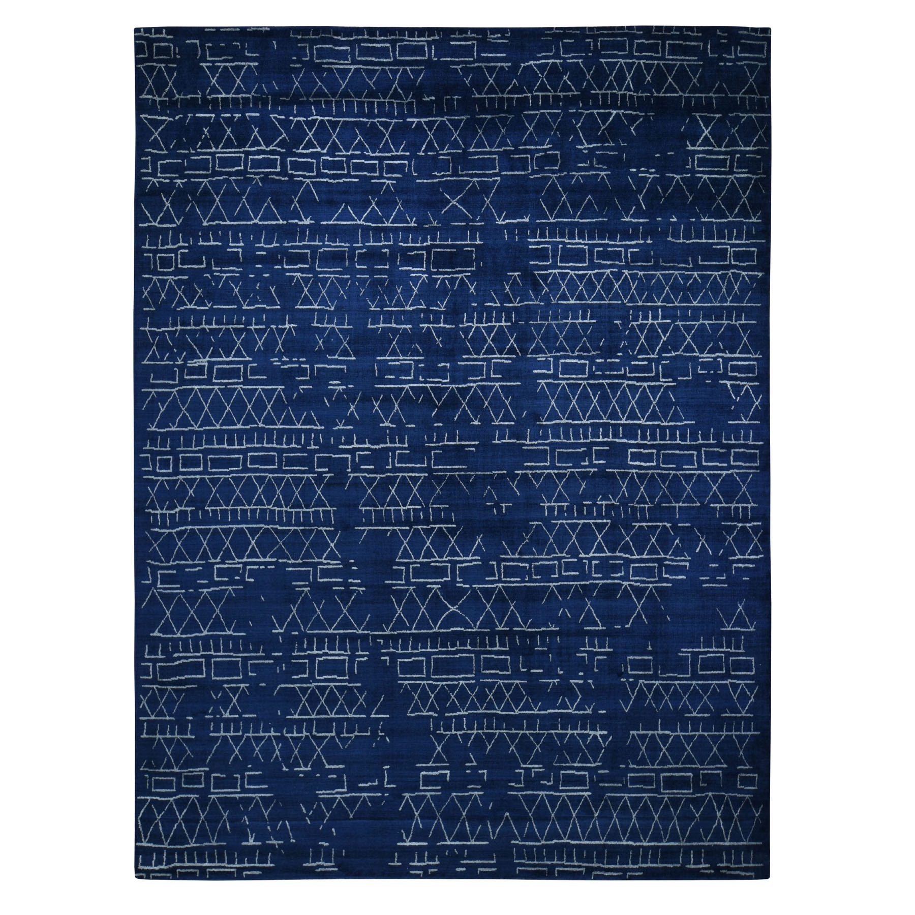 Mid Century Modern Collection Hand Loomed Blue Rug No: 0196442