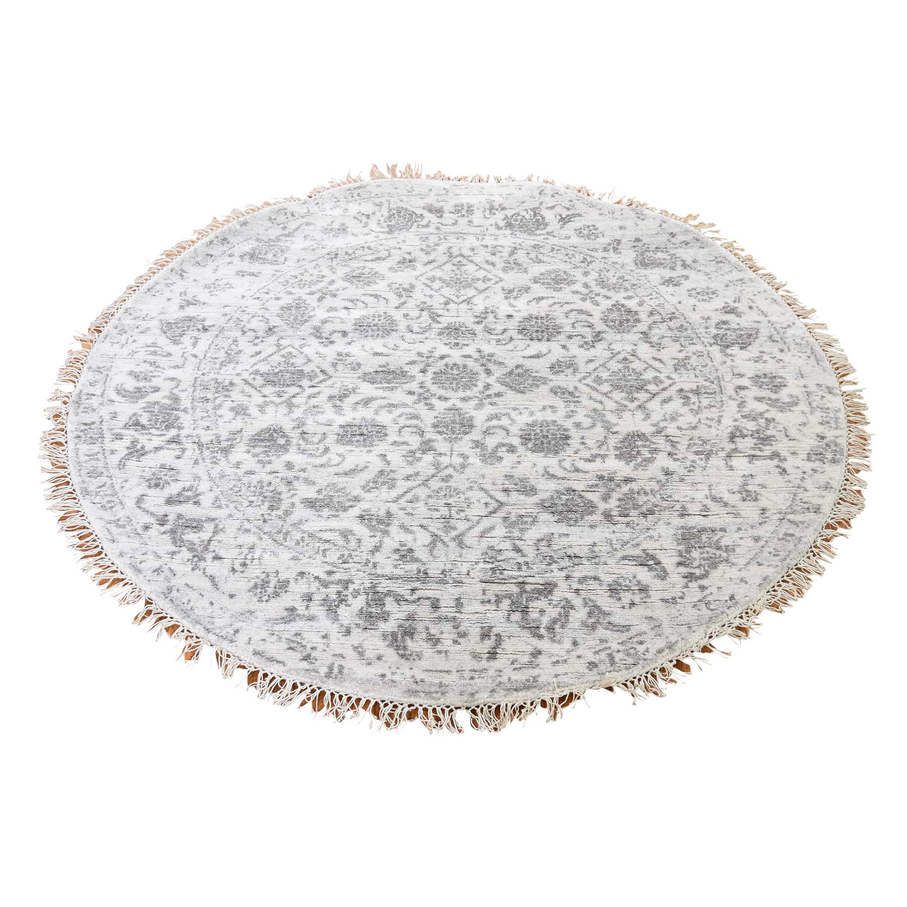 Wool and Real Silk Collection Hand Knotted Ivory Rug No: 0187014