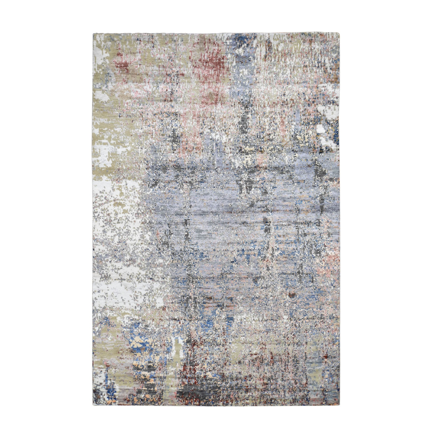 Mid Century Modern Collection Hand Knotted Grey Rug No: 0196510